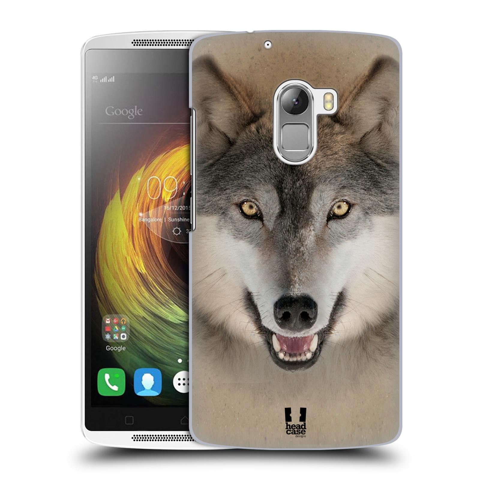 HEAD CASE pevný plastový obal na mobil LENOVO A7010 / A7010 DUAL / K4 Note / Vibe X3 lite vzor Zvířecí tváře 2 vlk šedý