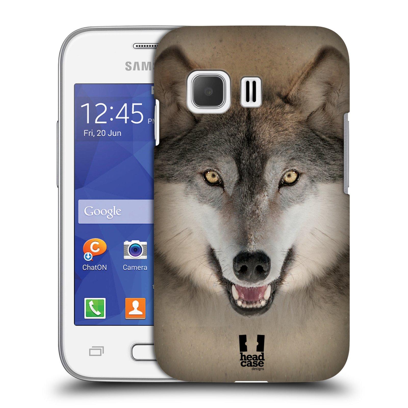HEAD CASE plastový obal na mobil SAMSUNG Galaxy Young 2 (G130) vzor Zvířecí tváře 2 vlk šedý