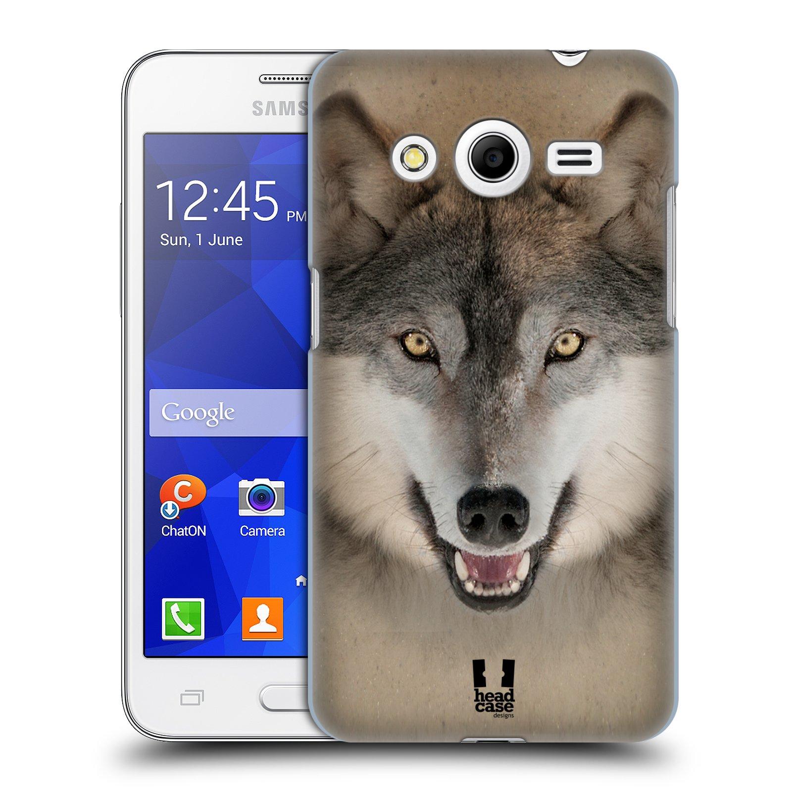 HEAD CASE plastový obal na mobil SAMSUNG GALAXY Core 2 (G355H) vzor Zvířecí tváře 2 vlk šedý