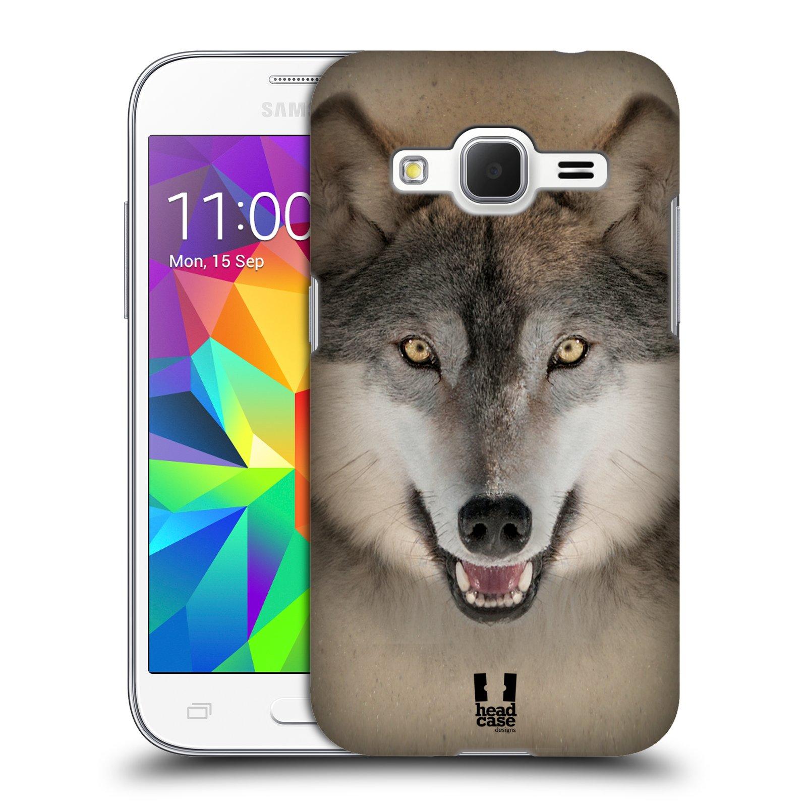 HEAD CASE plastový obal na mobil SAMSUNG GALAXY Core Prime (Core Prime VE) vzor Zvířecí tváře 2 vlk šedý