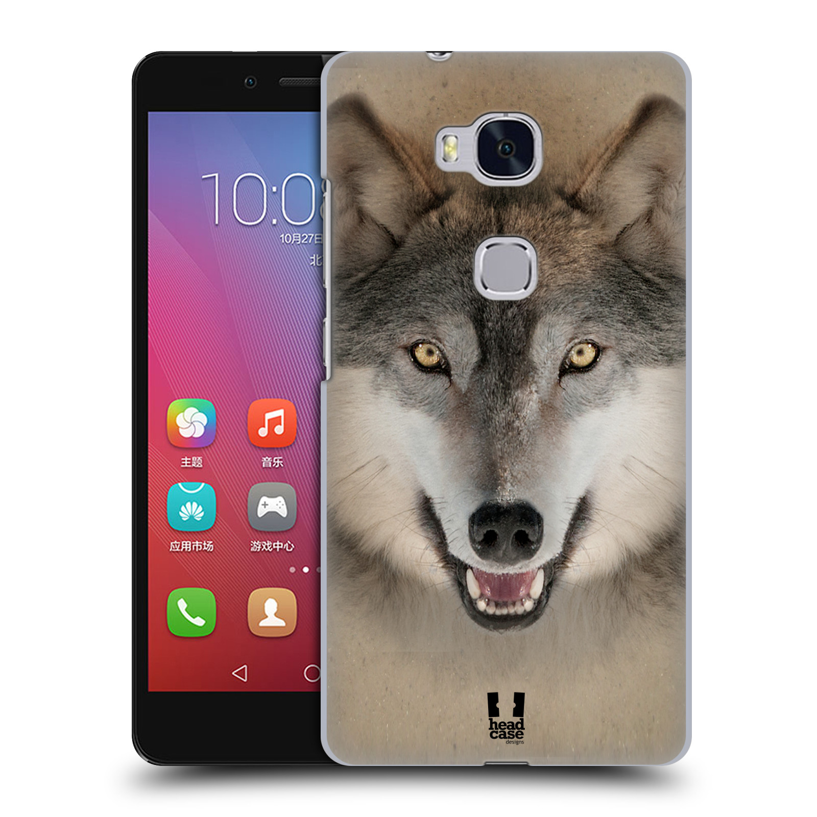 HEAD CASE pevný plastový obal na mobil HUAWEI HONOR 5X vzor Zvířecí tváře 2 vlk šedý