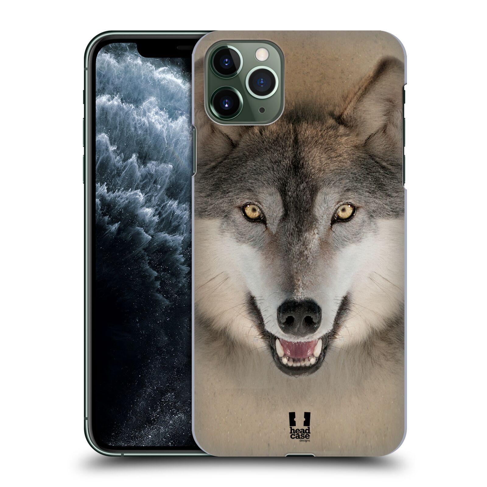 Pouzdro na mobil Apple Iphone 11 PRO MAX - HEAD CASE - vzor Zvířecí tváře 2 vlk šedý