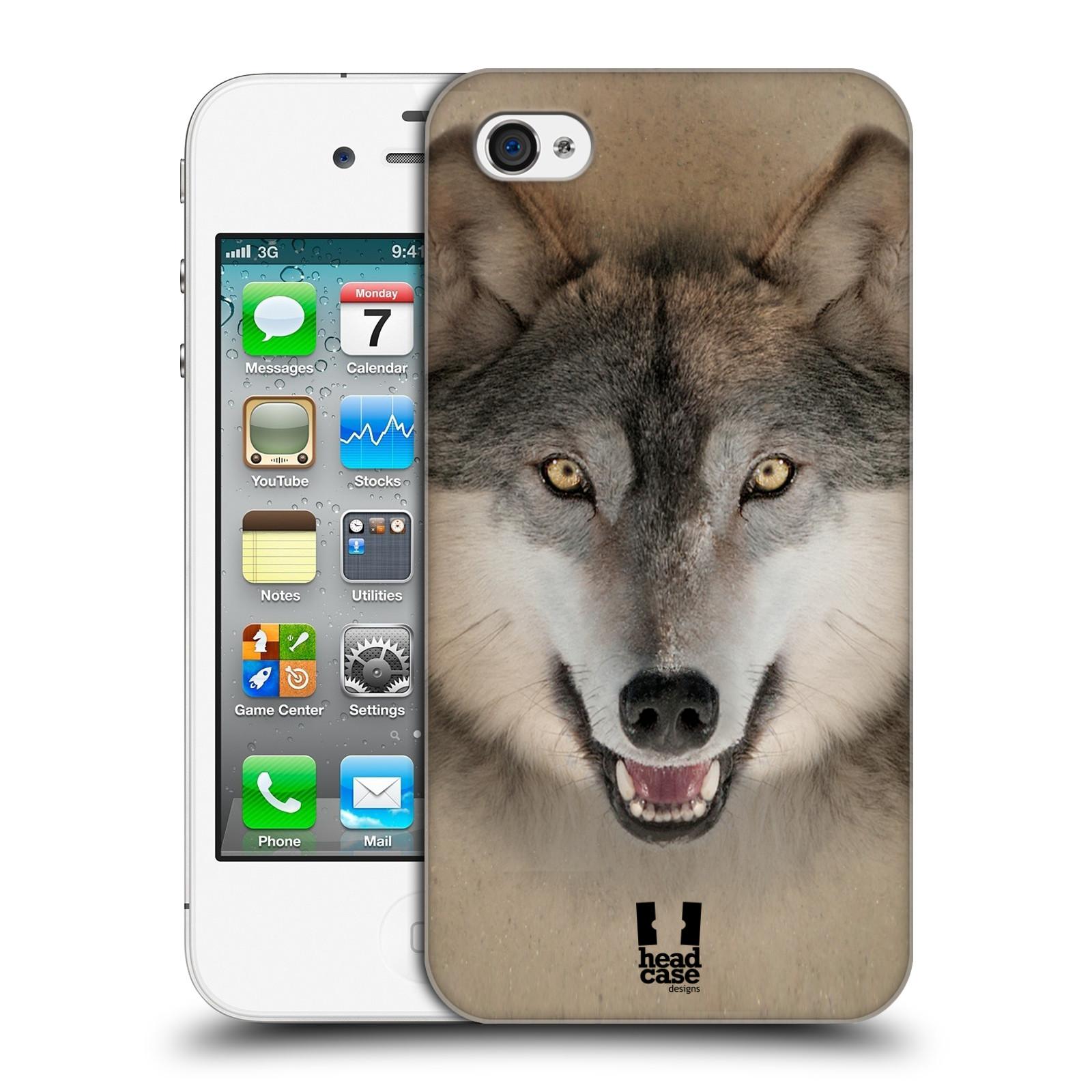 HEAD CASE plastový obal na mobil Apple Iphone 4/4S vzor Zvířecí tváře 2 vlk šedý