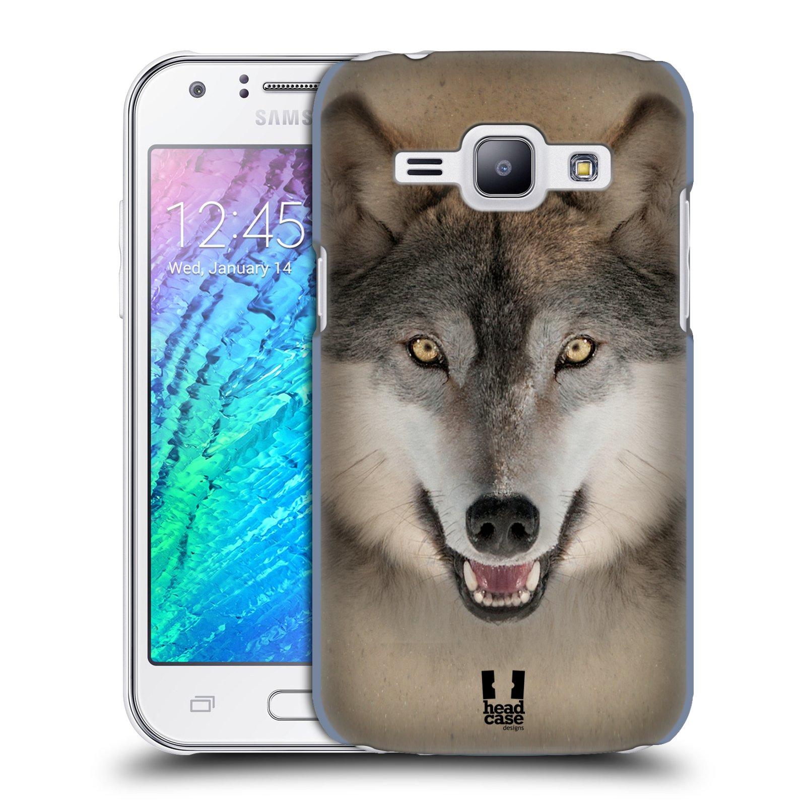 HEAD CASE plastový obal na mobil SAMSUNG Galaxy J1, J100 vzor Zvířecí tváře 2 vlk šedý