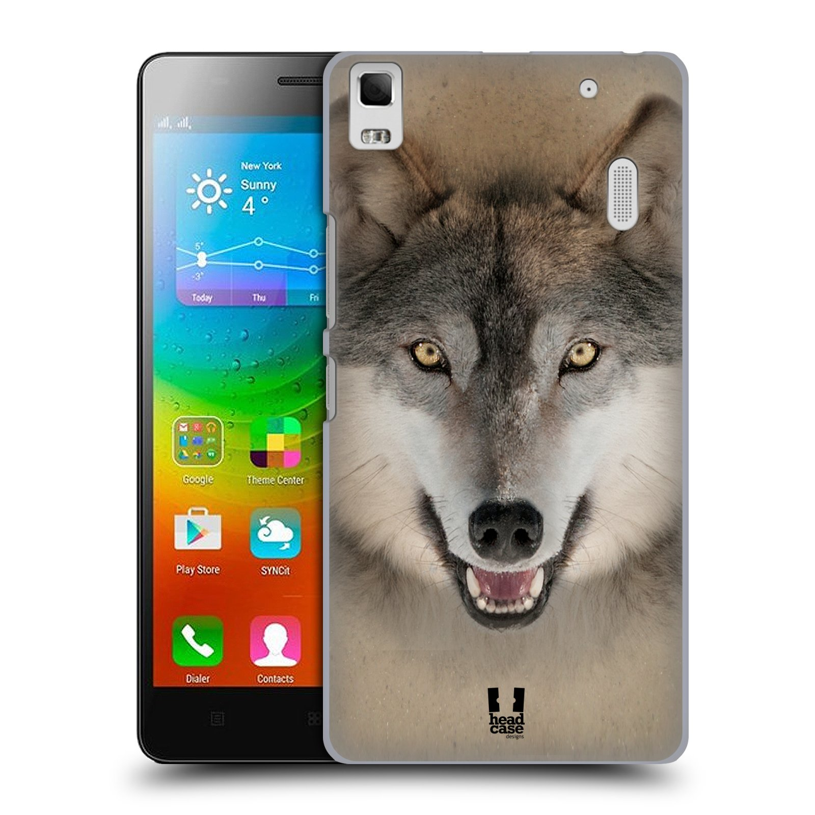 HEAD CASE pevný plastový obal na mobil LENOVO A7000 / A7000 DUAL / K3 NOTE vzor Zvířecí tváře 2 vlk šedý