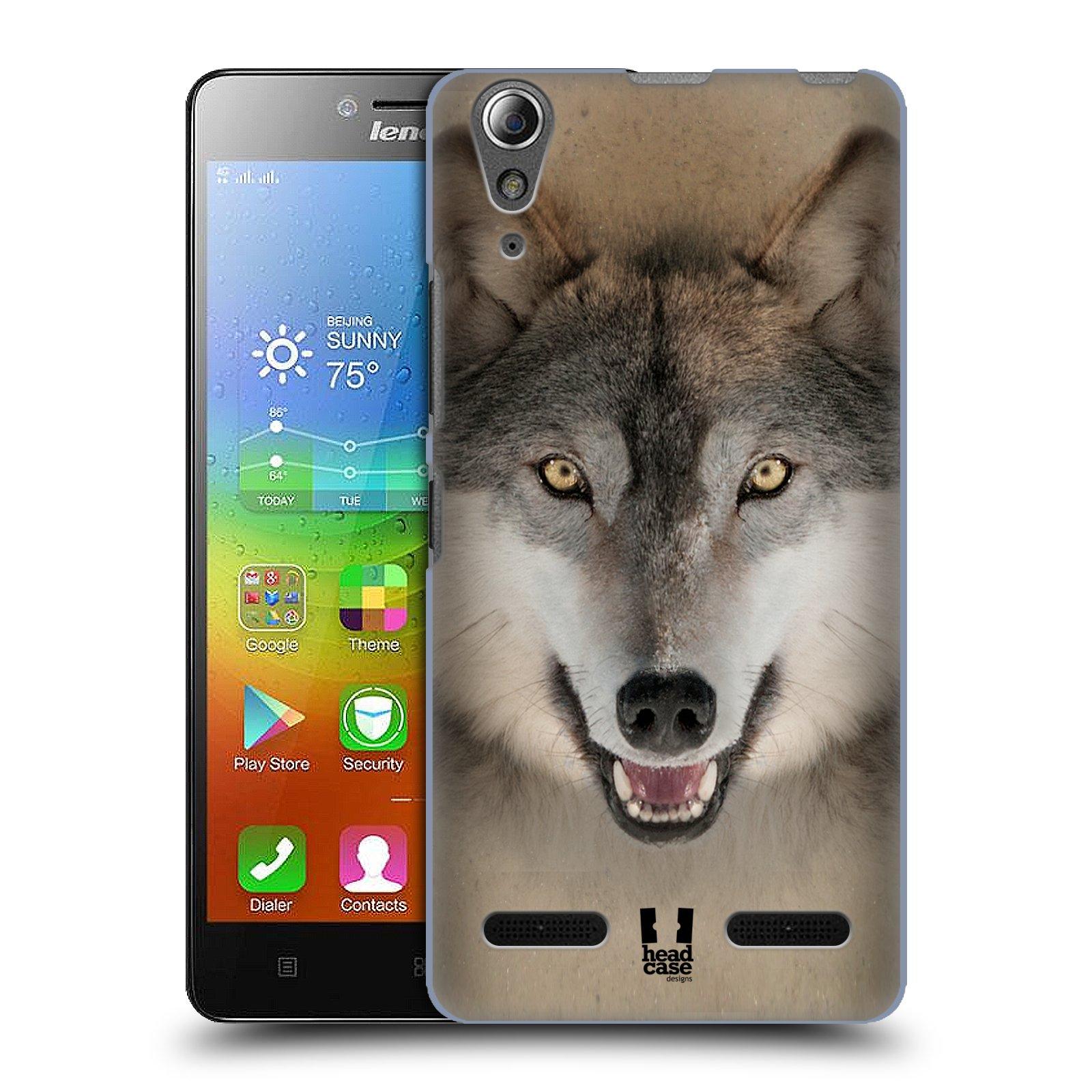 HEAD CASE pevný plastový obal na mobil LENOVO A6000 / A6000 PLUS vzor Zvířecí tváře 2 vlk šedý