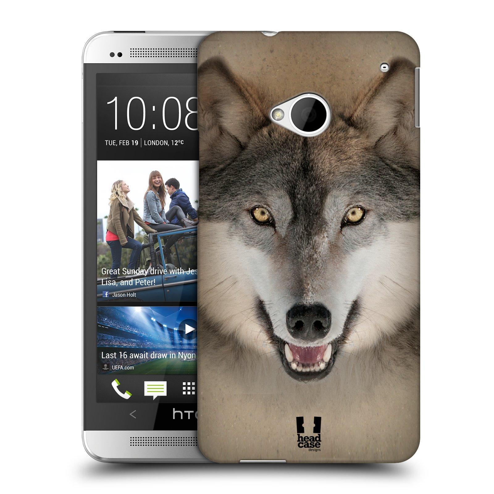 HEAD CASE plastový obal na mobil HTC One (M7) vzor Zvířecí tváře 2 vlk šedý