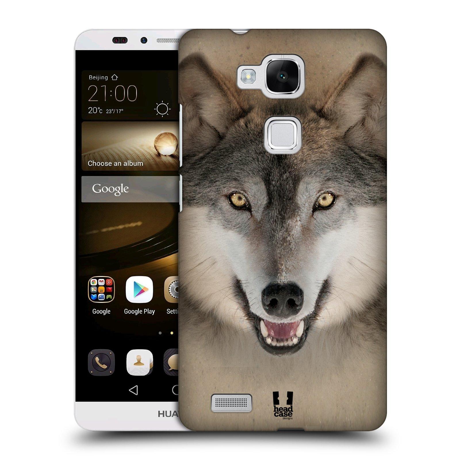 HEAD CASE plastový obal na mobil Huawei Mate 7 vzor Zvířecí tváře 2 vlk šedý