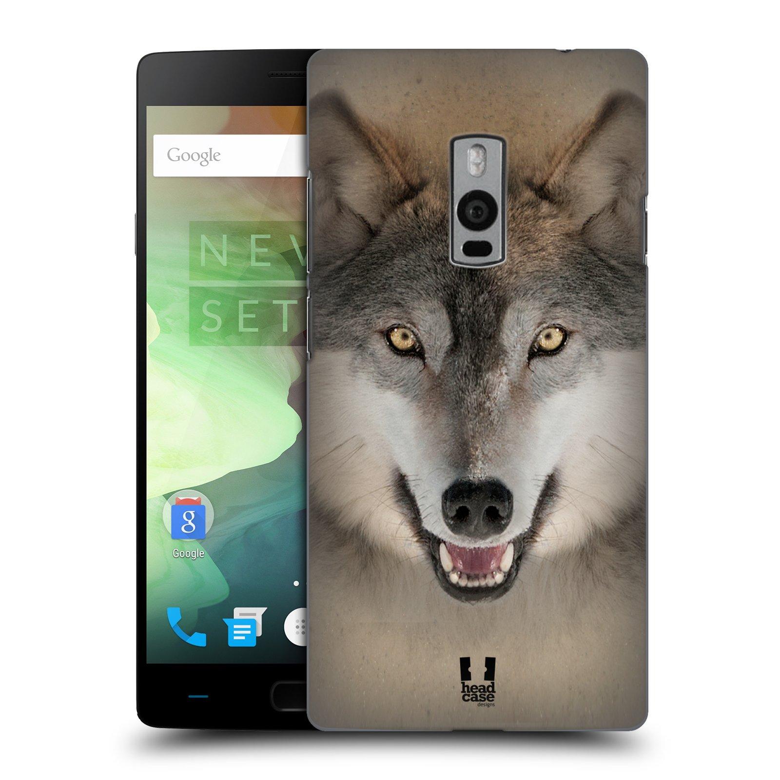HEAD CASE pevný plastový obal na mobil OnePlus 2  ( TWO ) vzor Zvířecí tváře 2 vlk šedý