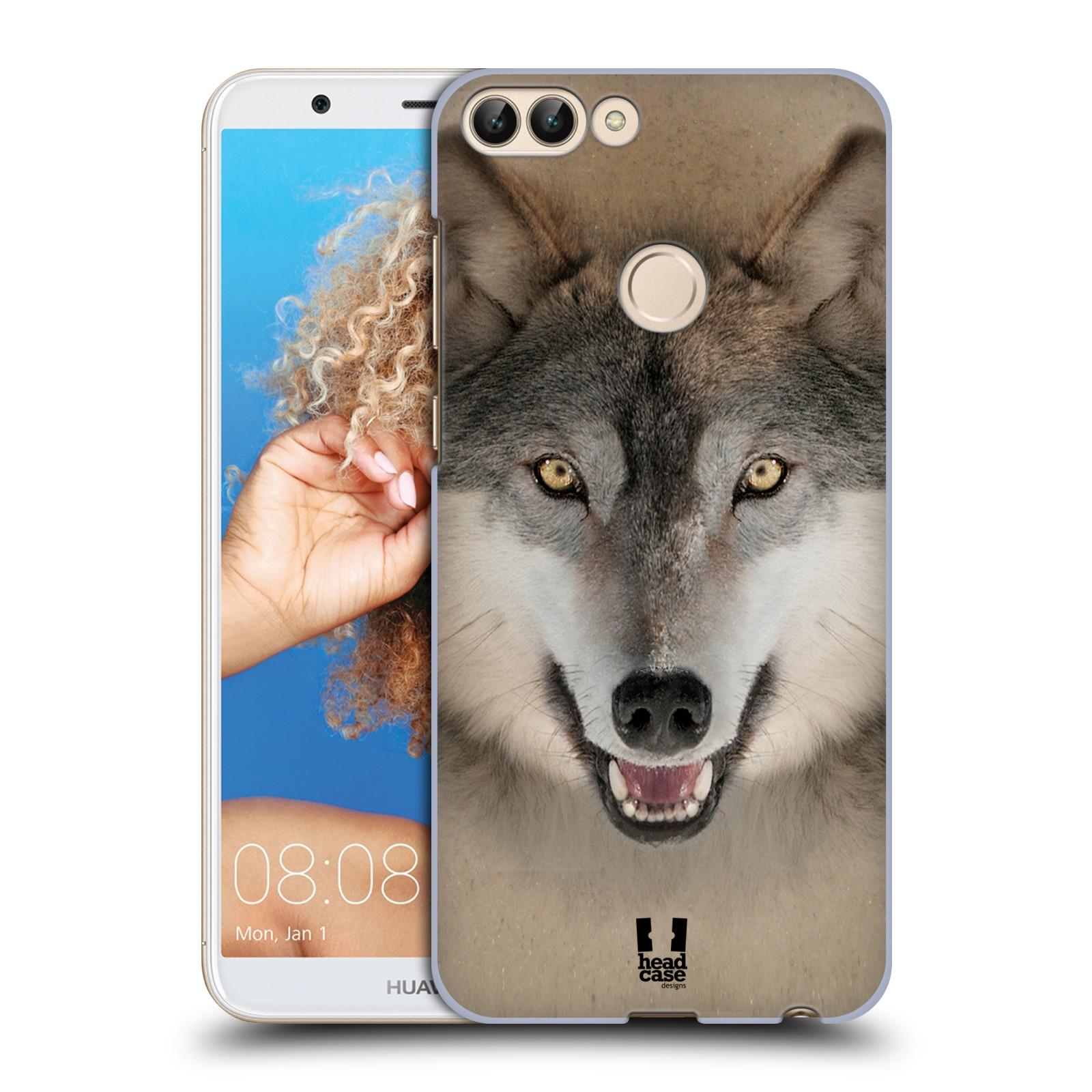 HEAD CASE plastový obal na mobil Huawei P Smart vzor Zvířecí tváře 2 vlk šedý