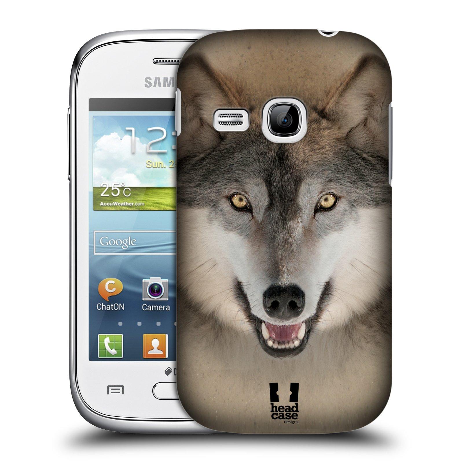 HEAD CASE plastový obal na mobil SAMSUNG Galaxy Young S6310 vzor Zvířecí tváře 2 vlk šedý