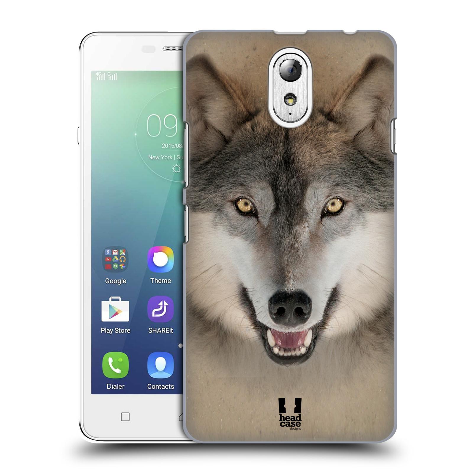 HEAD CASE pevný plastový obal na mobil LENOVO VIBE P1m / LENOVO VIBE p1m DUAL SIM vzor Zvířecí tváře 2 vlk šedý
