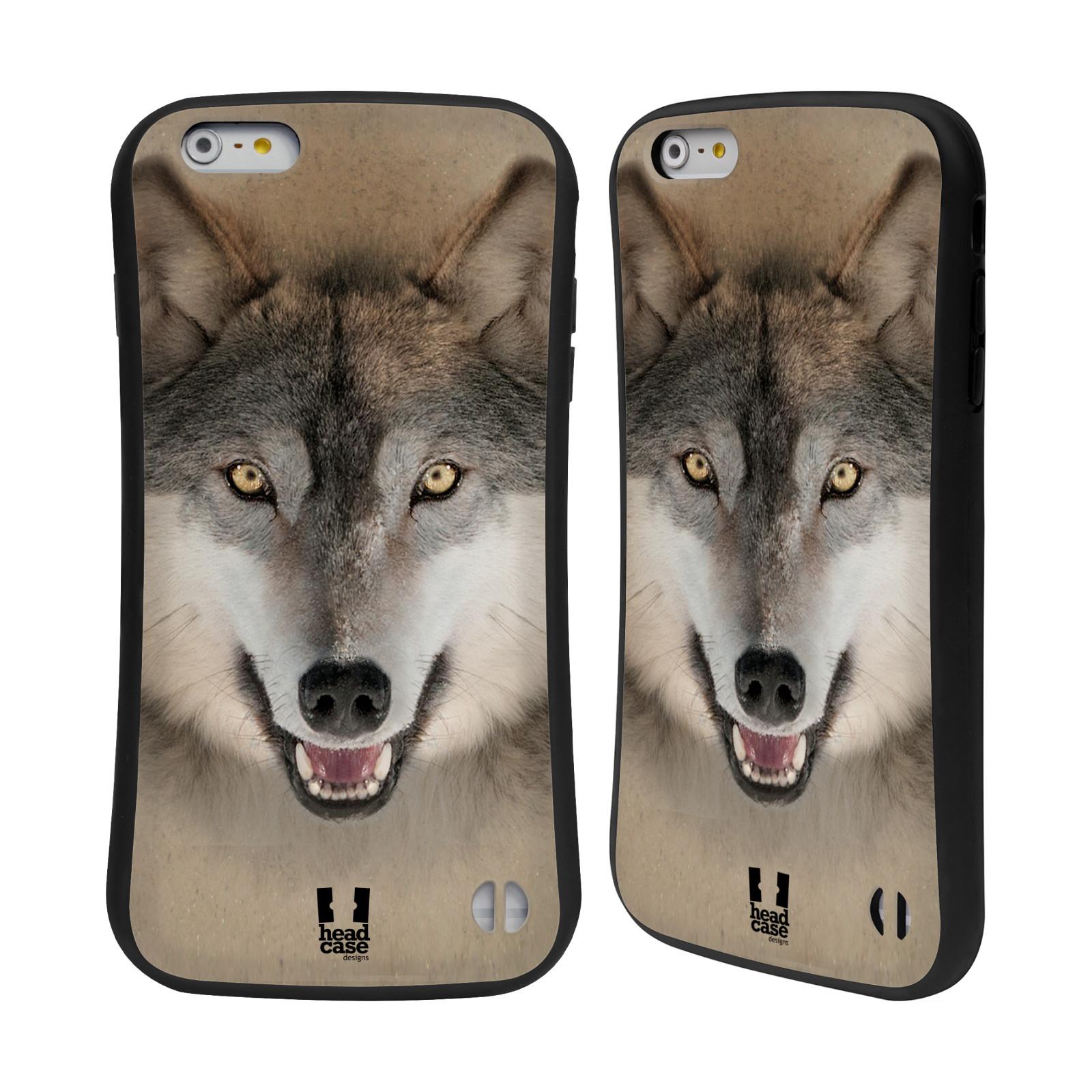 HEAD CASE silikon/plast odolný obal na mobil Apple Iphone 6 PLUS / 6S PLUS vzor Zvířecí tváře 2 vlk šedý
