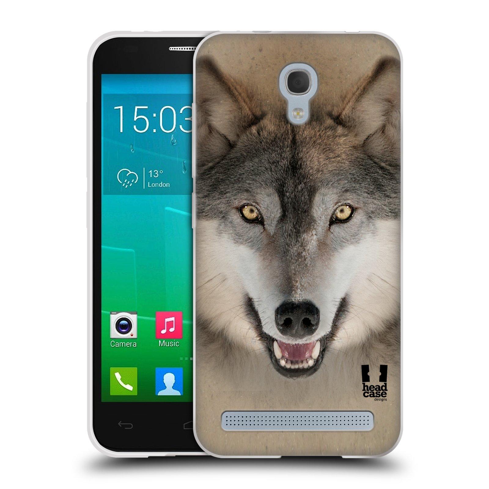 HEAD CASE silikonový obal na mobil Alcatel Idol 2 MINI S 6036Y vzor Zvířecí tváře 2 vlk šedý