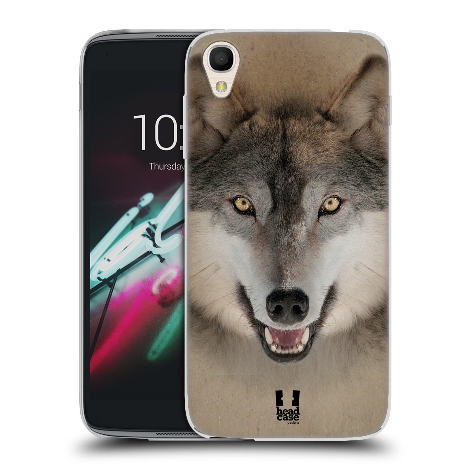 HEAD CASE silikonový obal na mobil Alcatel Idol 3 OT-6039Y (4.7) vzor Zvířecí tváře 2 vlk šedý