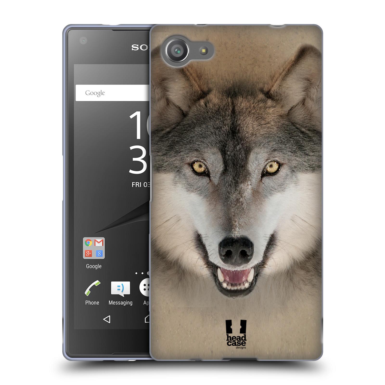 HEAD CASE silikonový obal na mobil Sony Xperia Z5 COMPACT vzor Zvířecí tváře 2 vlk šedý