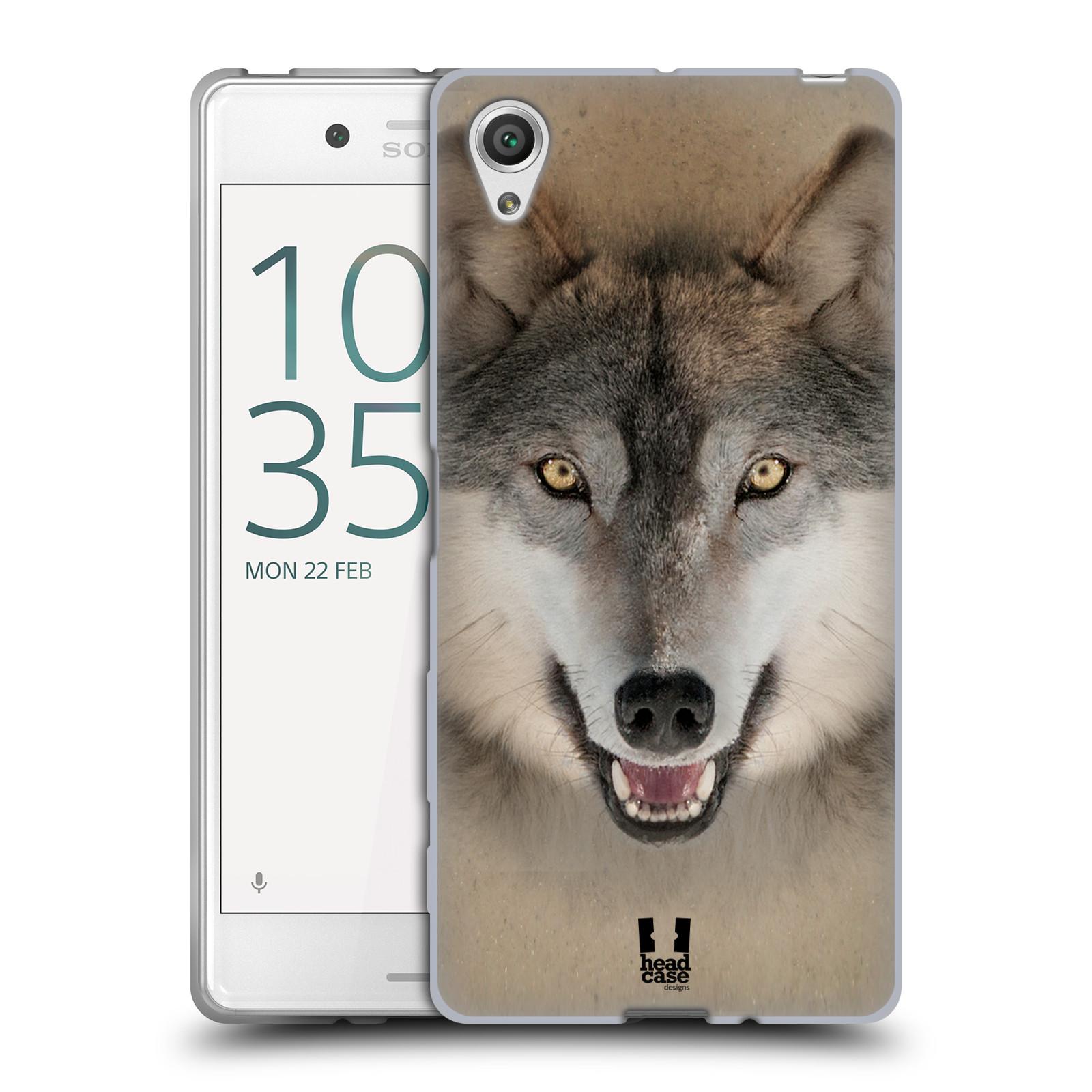 HEAD CASE silikonový obal na mobil Sony Xperia X / X DUAL vzor Zvířecí tváře 2 vlk šedý