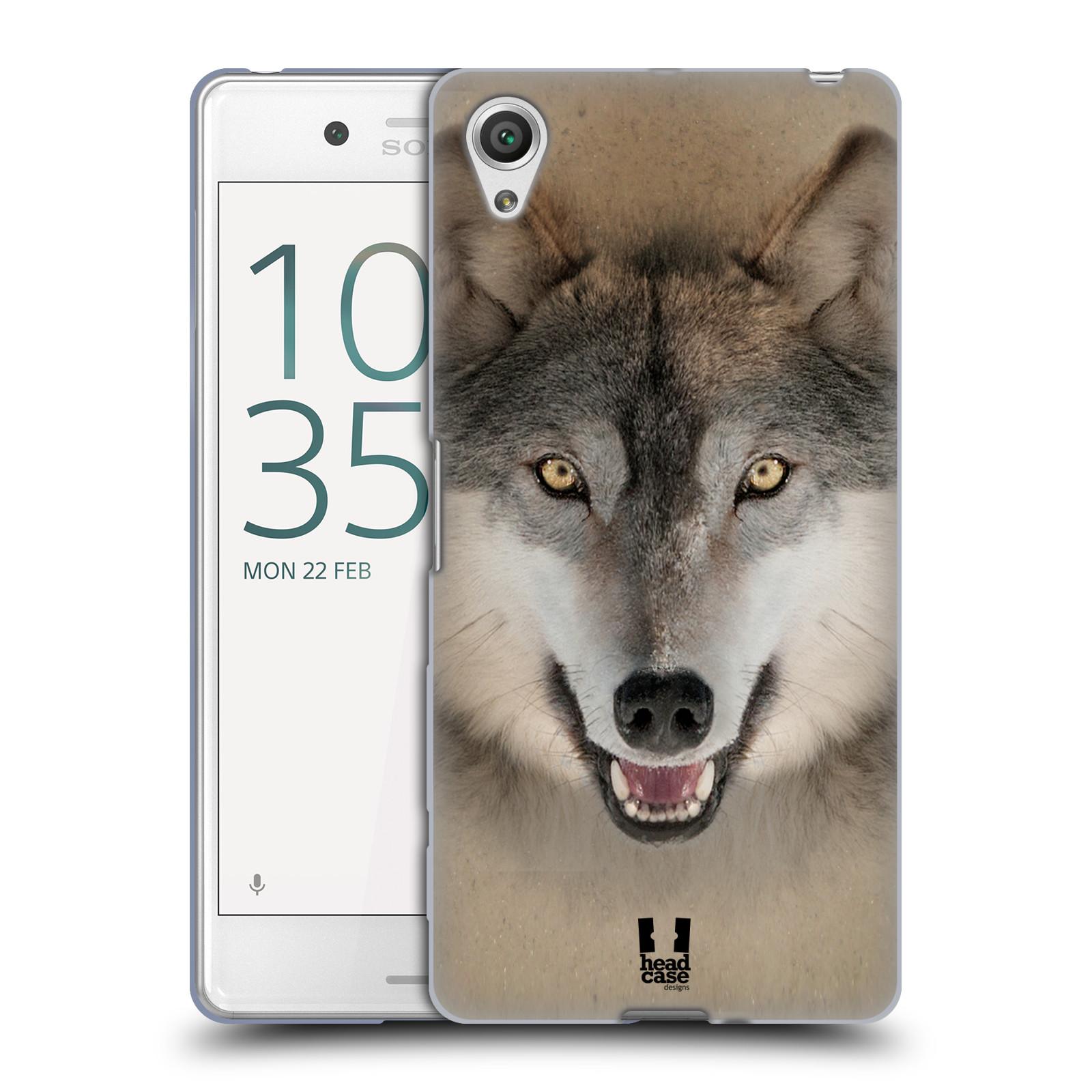 HEAD CASE silikonový obal na mobil Sony Xperia X PERFORMANCE (F8131, F8132) vzor Zvířecí tváře 2 vlk šedý