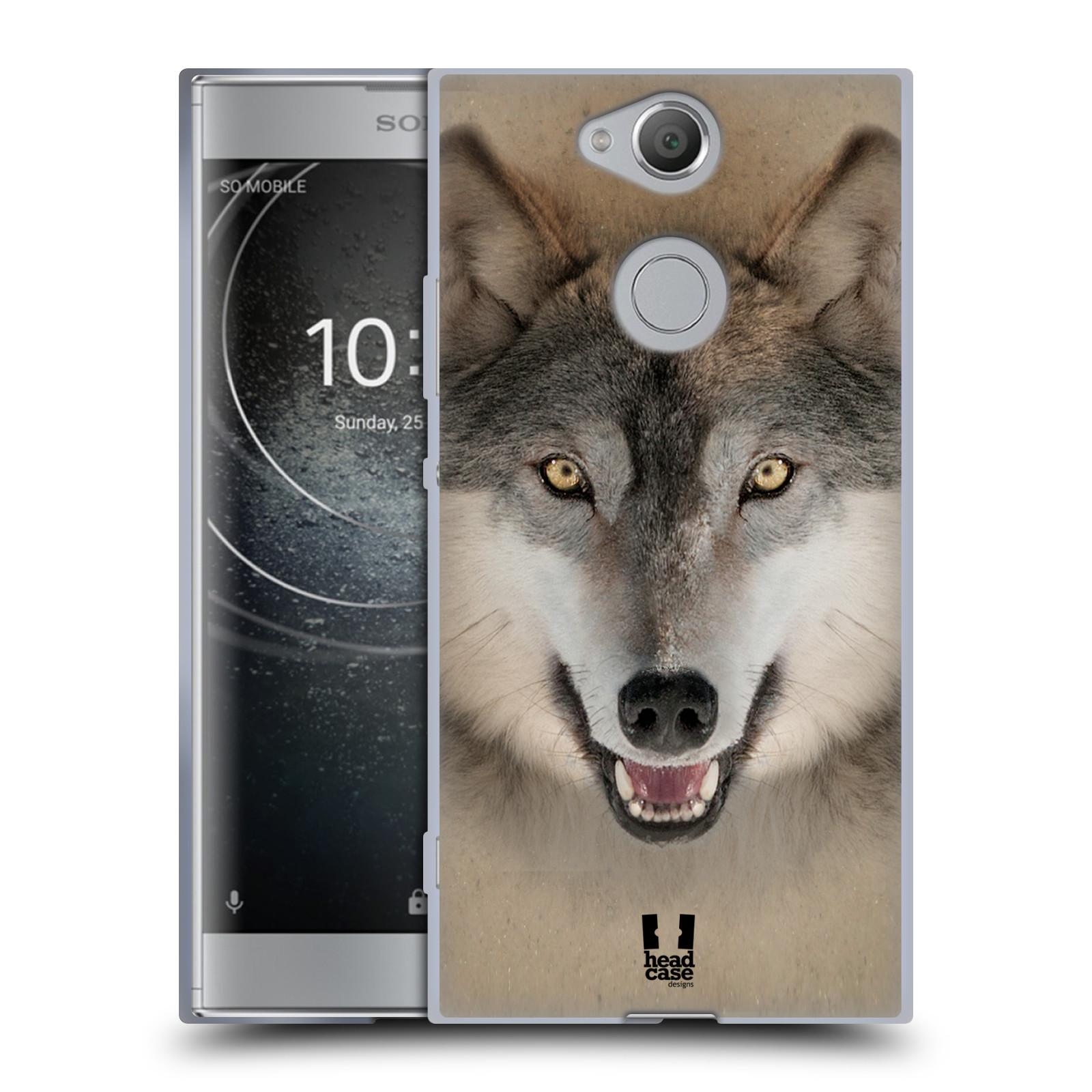 Pouzdro na mobil Sony Xperia XA2 (DUAL SIM, SINGLE SIM) vzor Zvířecí tváře 2 vlk šedý