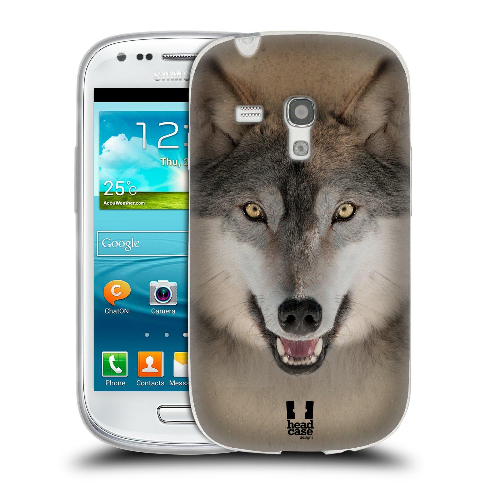 HEAD CASE silikonový obal na mobil Samsung Galaxy S3 MINI i8190 vzor Zvířecí tváře 2 vlk šedý