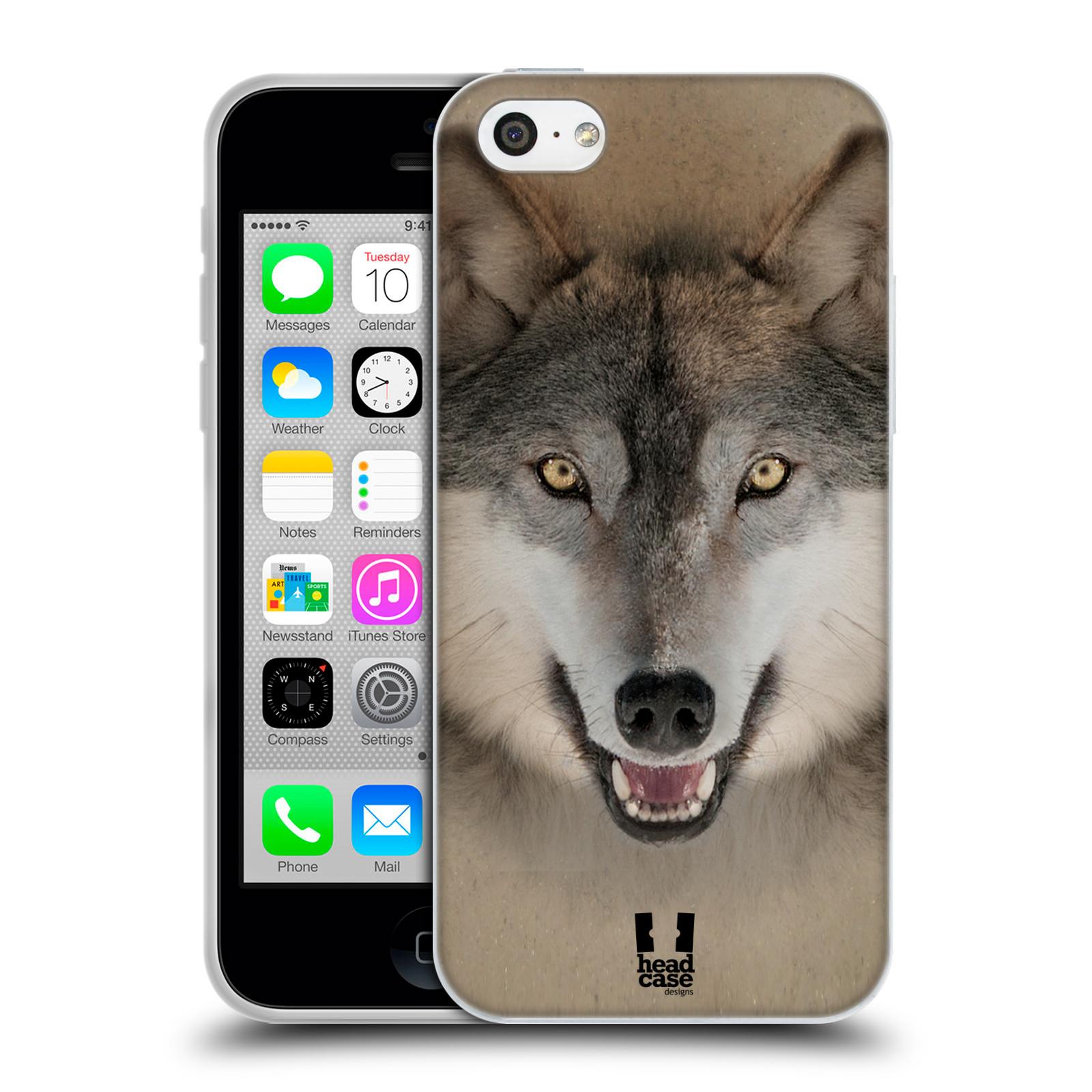 HEAD CASE silikonový obal na mobil Apple Iphone 5C vzor Zvířecí tváře 2 vlk šedý