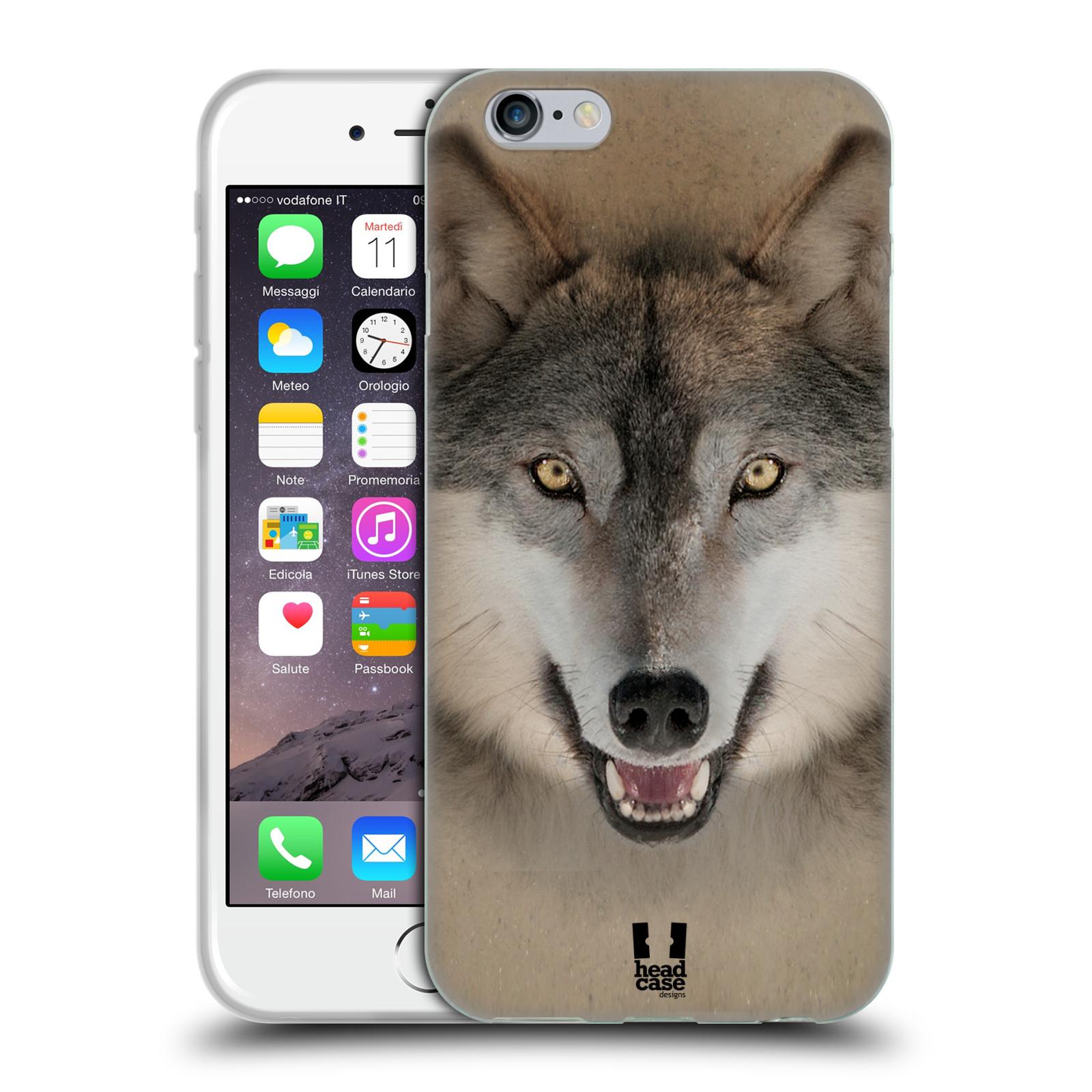 HEAD CASE silikonový obal na mobil Apple Iphone 6/6S vzor Zvířecí tváře 2 vlk šedý