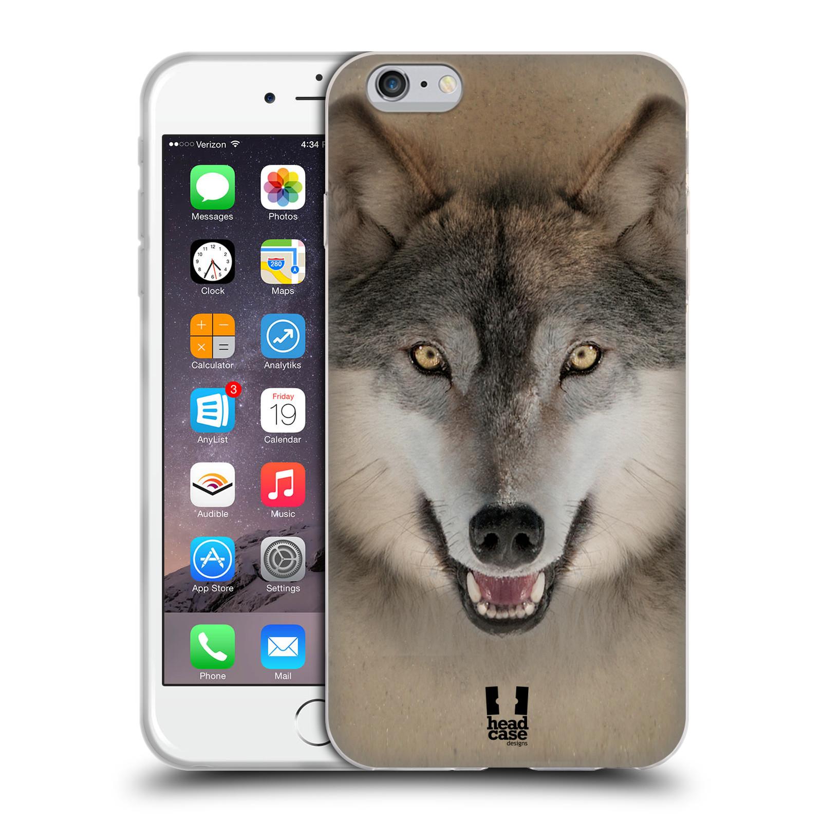 HEAD CASE silikonový obal na mobil Apple Iphone 6 PLUS/ 6S PLUS vzor Zvířecí tváře 2 vlk šedý