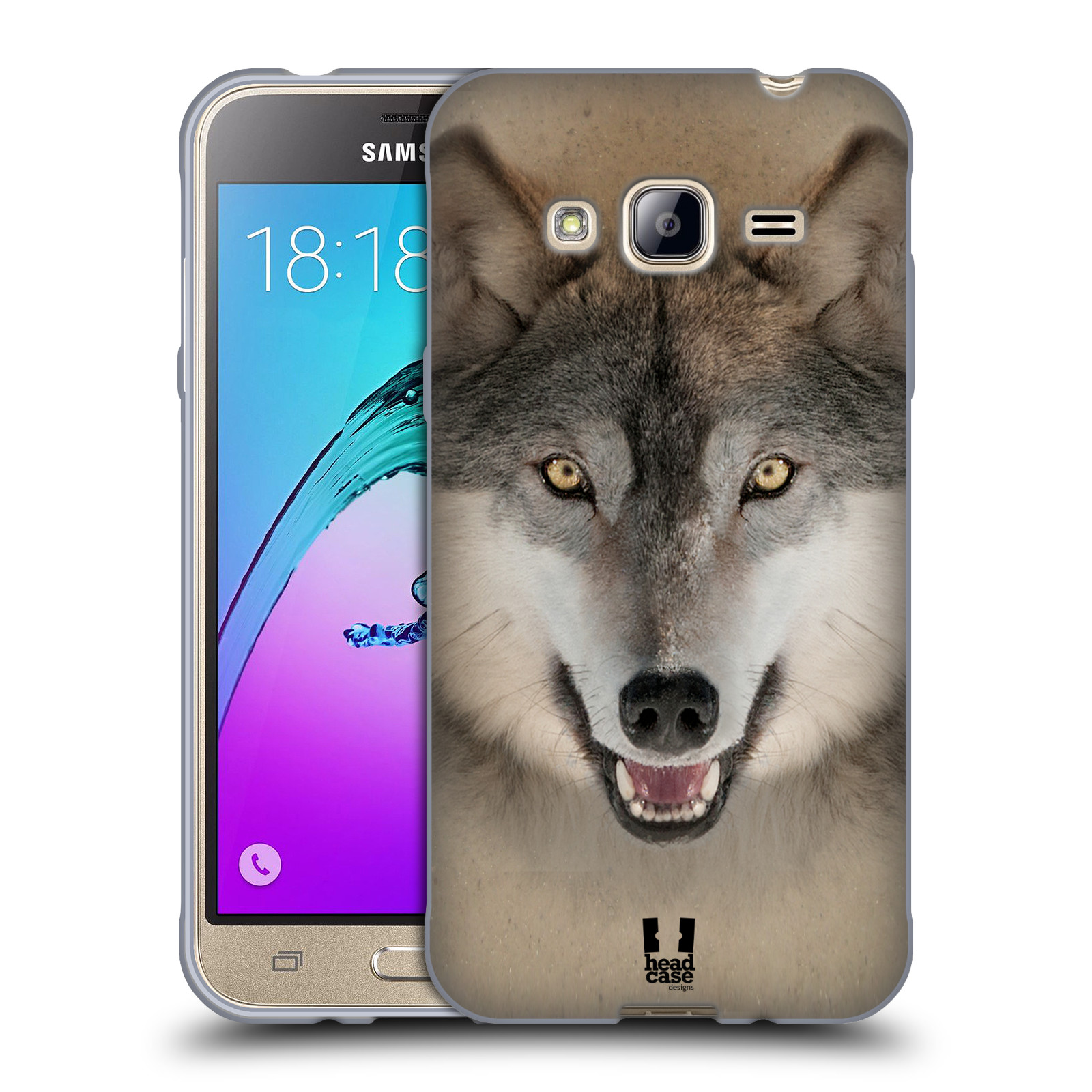 HEAD CASE silikonový obal na mobil Samsung Galaxy J3, J3 2016 vzor Zvířecí tváře 2 vlk šedý