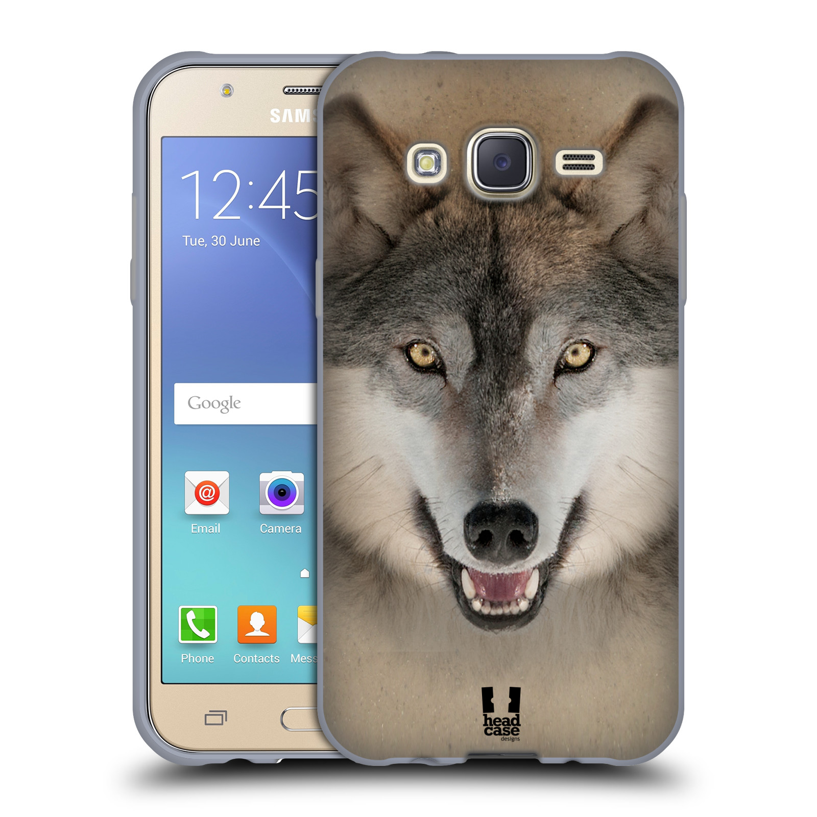 HEAD CASE silikonový obal na mobil Samsung Galaxy J5, J500, (J5 DUOS) vzor Zvířecí tváře 2 vlk šedý