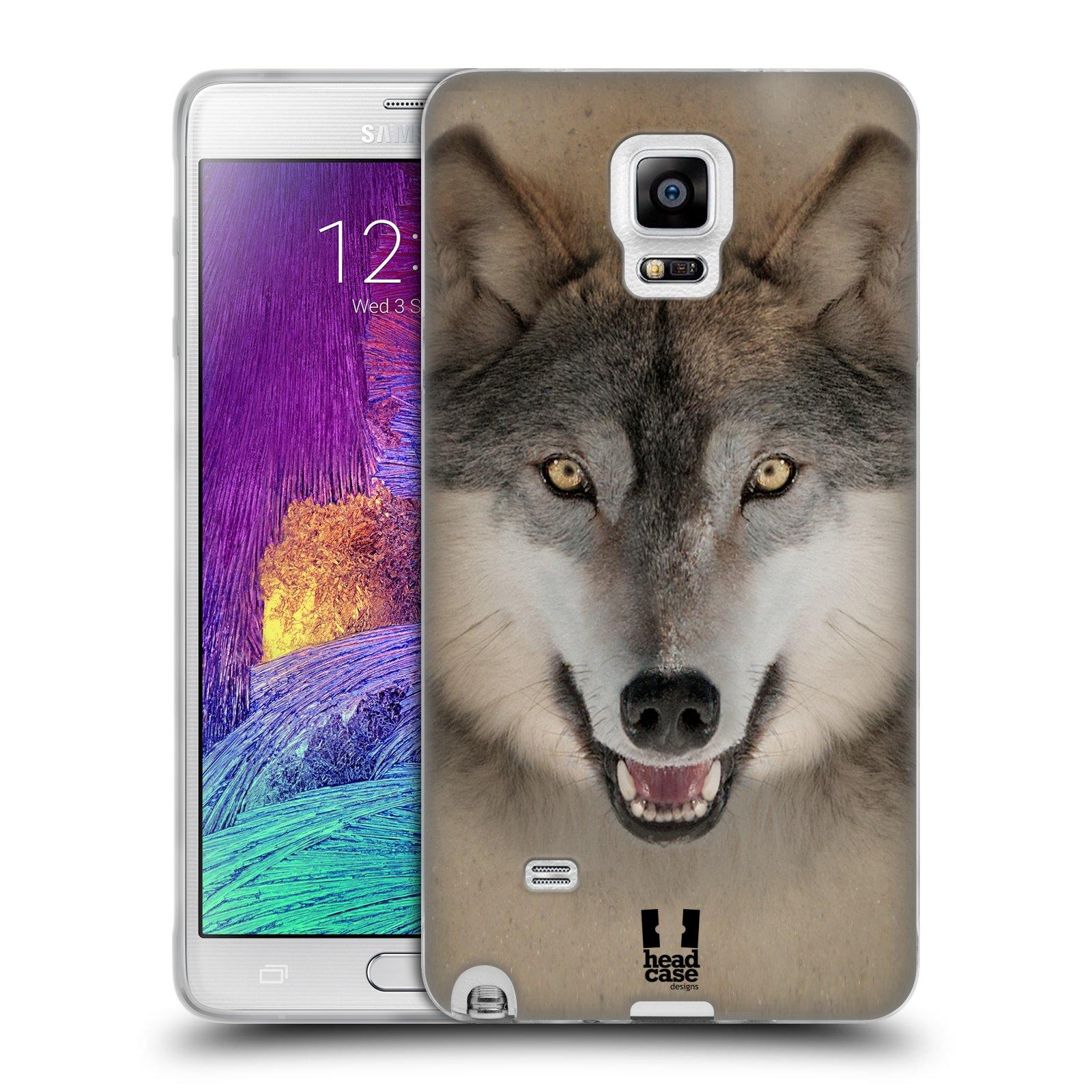 HEAD CASE silikonový obal na mobil Samsung Galaxy Note 4 (N910) vzor Zvířecí tváře 2 vlk šedý