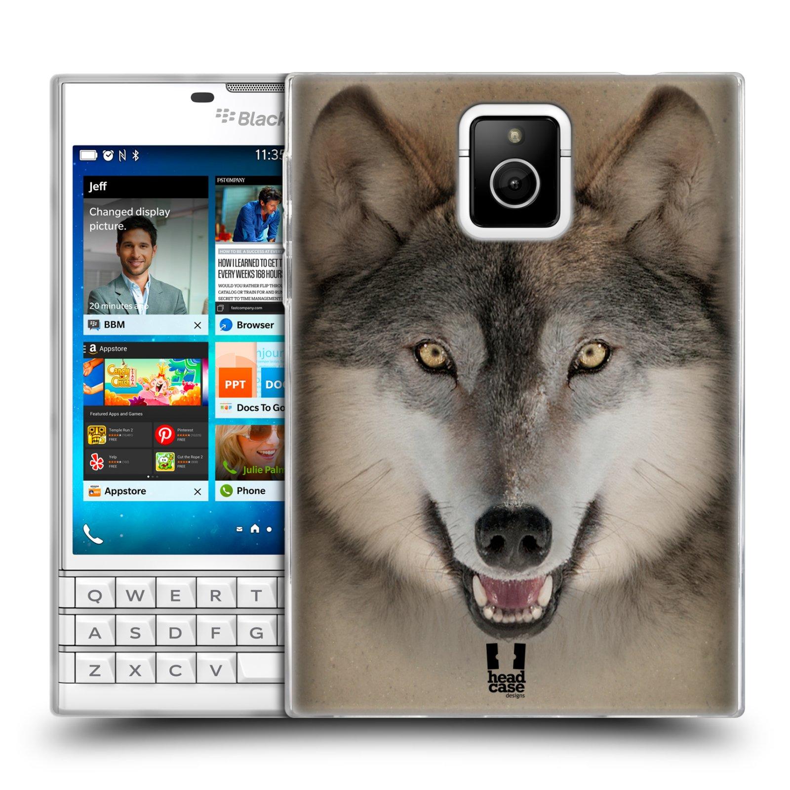 HEAD CASE silikonový obal na mobil Blackberry PASSPORT vzor Zvířecí tváře 2 vlk šedý
