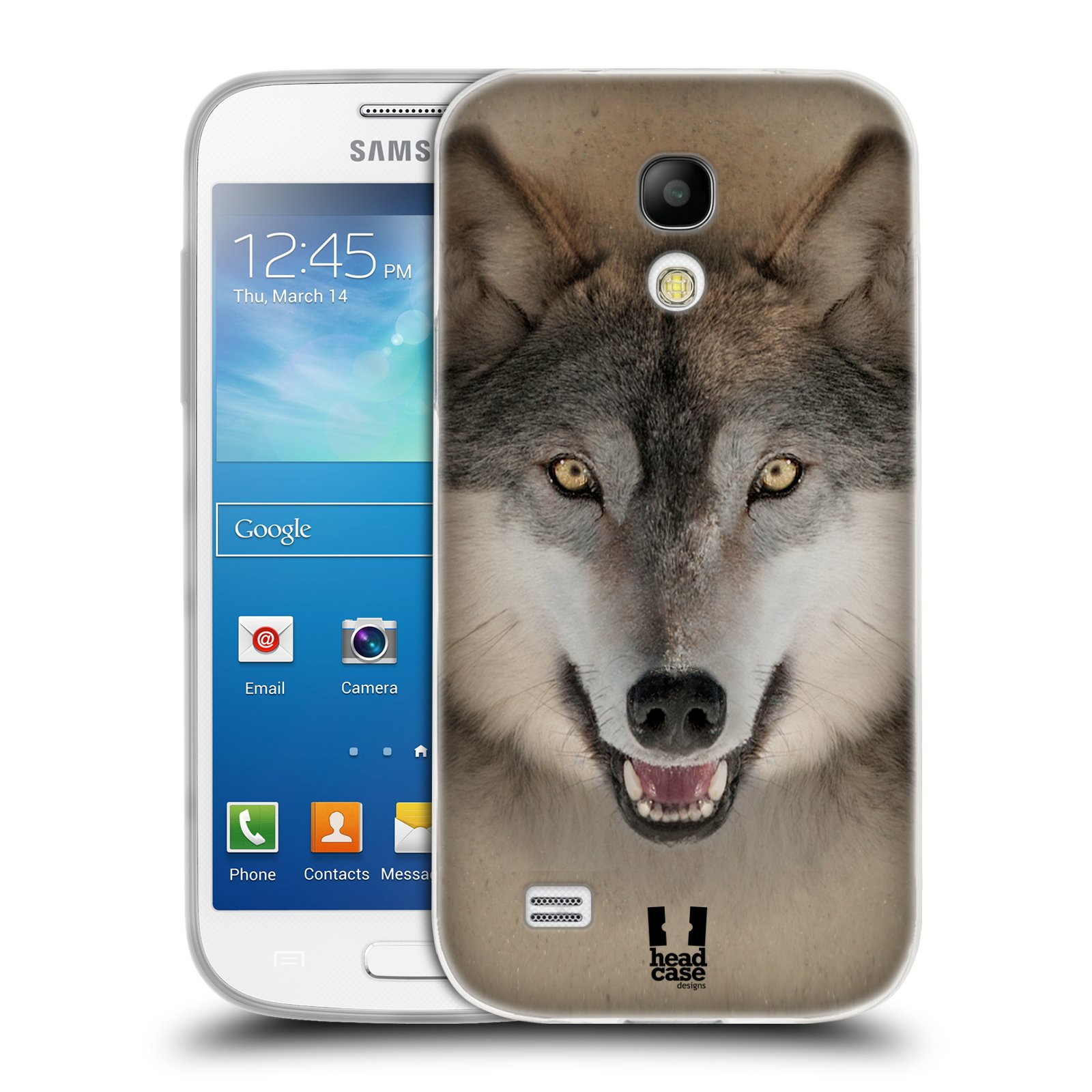 HEAD CASE silikonový obal na mobil Samsung Galaxy S4 MINI vzor Zvířecí tváře 2 vlk šedý