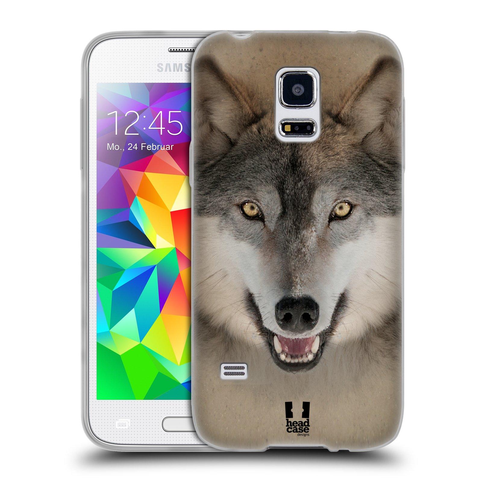 HEAD CASE silikonový obal na mobil Samsung Galaxy S5 MINI vzor Zvířecí tváře 2 vlk šedý