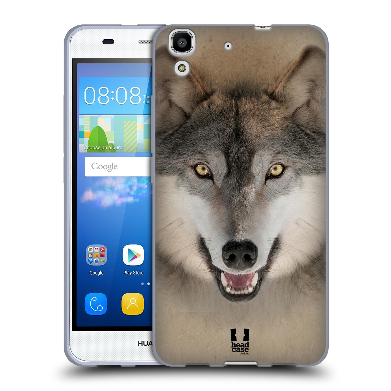 HEAD CASE silikonový obal na mobil HUAWEI Y6 vzor Zvířecí tváře 2 vlk šedý