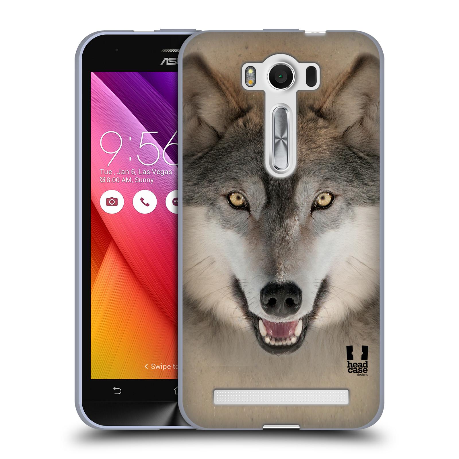 """HEAD CASE silikonový obal na mobil Asus Zenfone 2 LASER (ZE500KL s 5"""" displejem) vzor Zvířecí tváře 2 vlk šedý"""