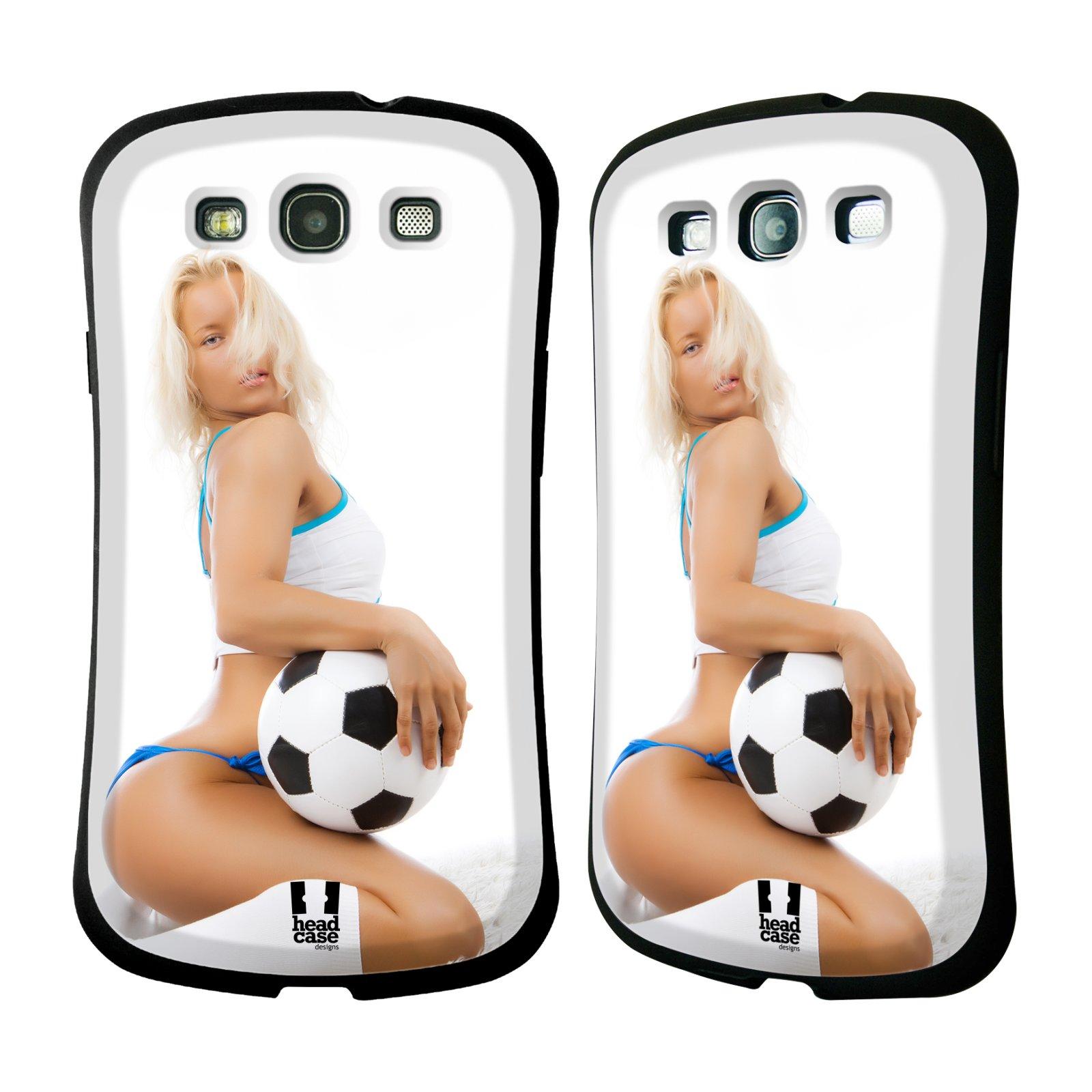HEAD CASE silikon/plast odolný obal na mobil Samsung Galaxy S3 vzor Fotbalové modelky BLONDÝNKA