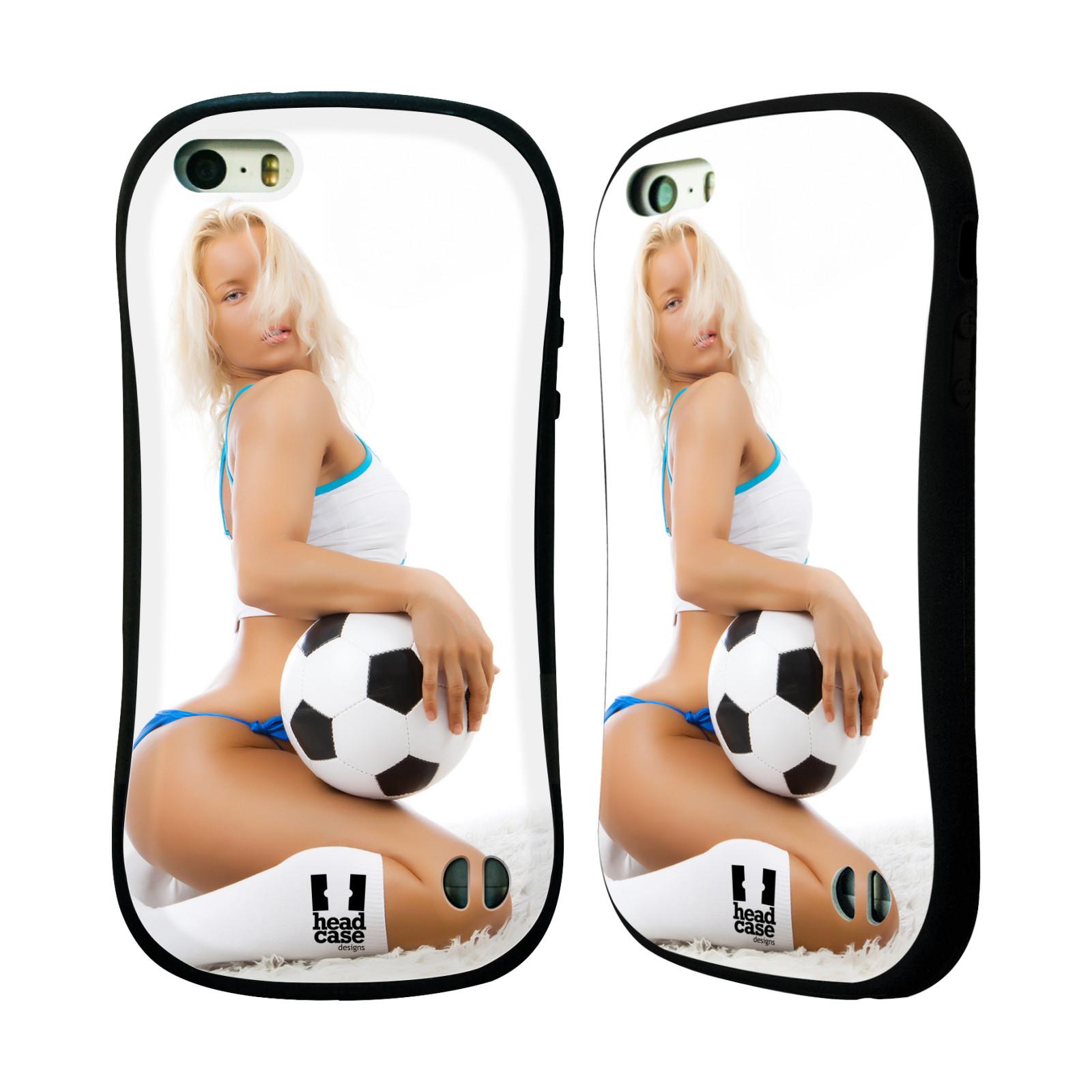 HEAD CASE silikon/plast odolný obal na mobil Apple Iphone 5/5S vzor Fotbalové modelky BLONDÝNKA