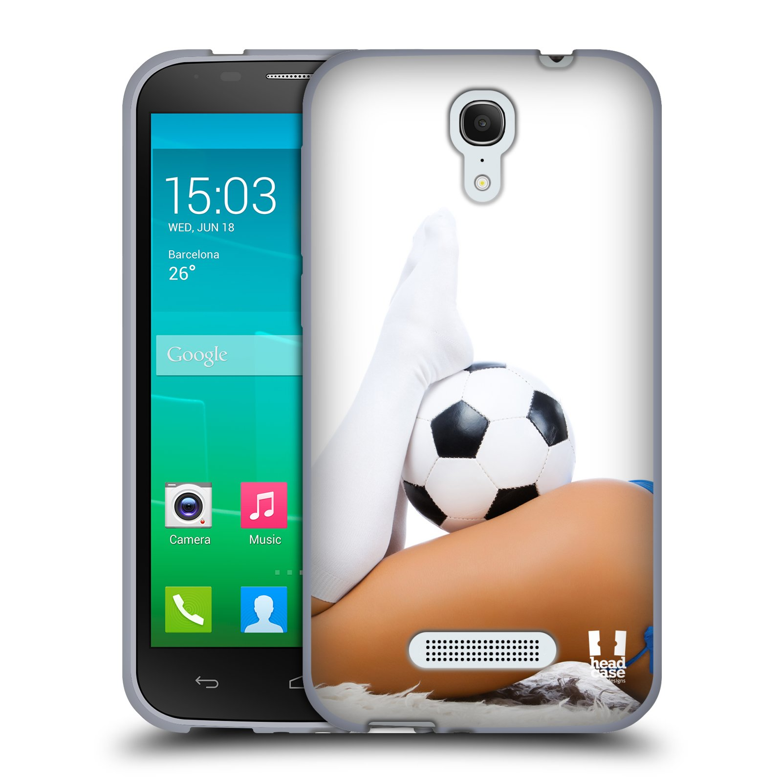 HEAD CASE silikonový obal na mobil Alcatel POP S7 vzor Fotbalové modelky PODKOLENKY