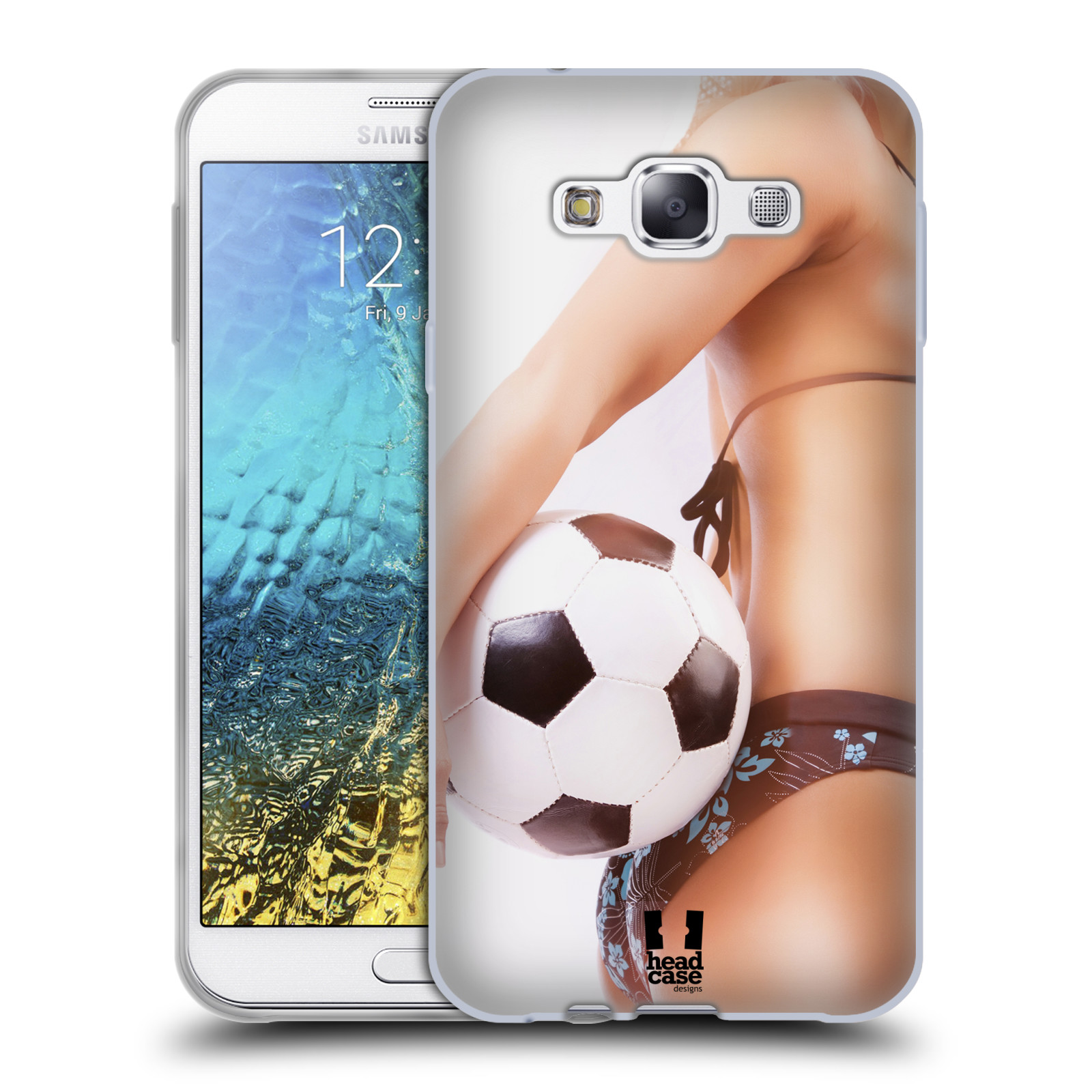 HEAD CASE silikonový obal na mobil Samsung Galaxy E7 vzor Fotbalové modelky KOPACÍ MÍČ