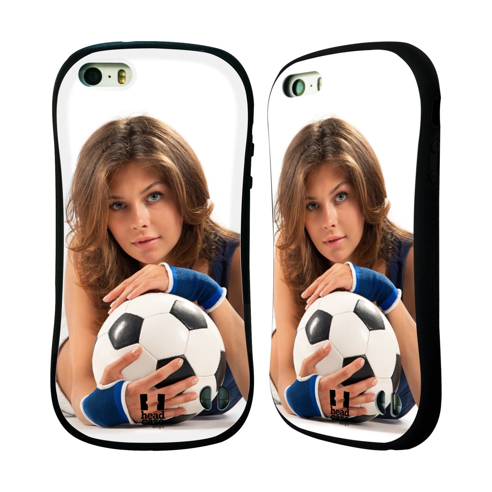 HEAD CASE silikon/plast odolný obal na mobil Apple Iphone 5/5S vzor Fotbalové modelky POHLED