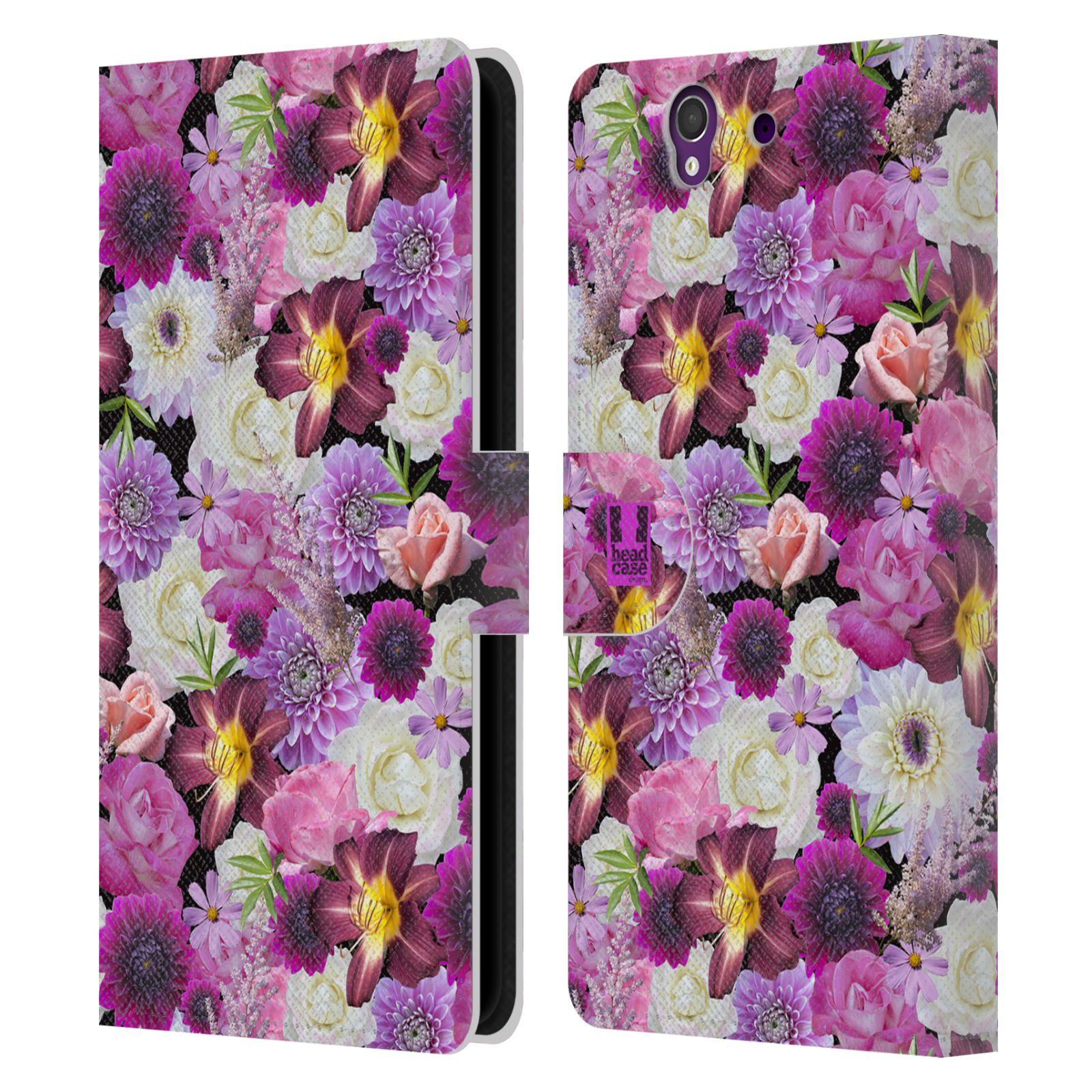 HEAD CASE Flipové pouzdro pro mobil SONY XPERIA Z (C6603) květy foto fialová a bílá