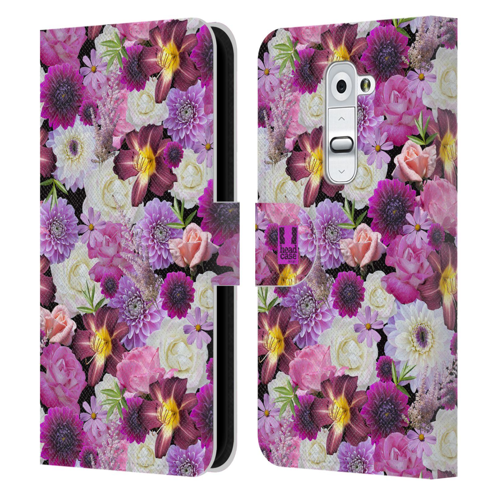 HEAD CASE Flipové pouzdro pro mobil LG G2 (D802) květy foto fialová a bílá