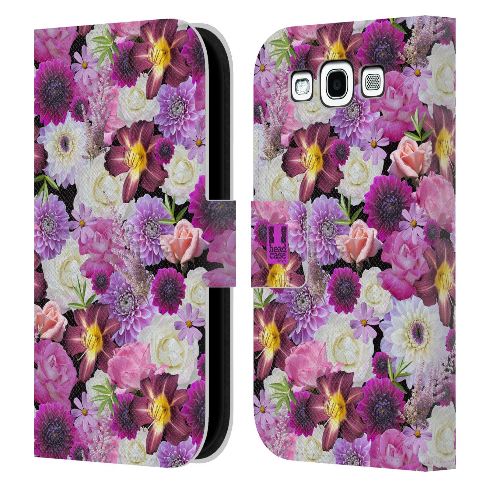 HEAD CASE Flipové pouzdro pro mobil Samsung Galaxy S3 květy foto fialová a bílá