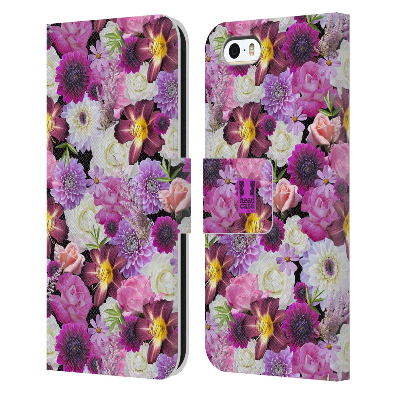 HEAD CASE Flipové pouzdro pro mobil Apple Iphone 5/5s květy foto fialová a bílá