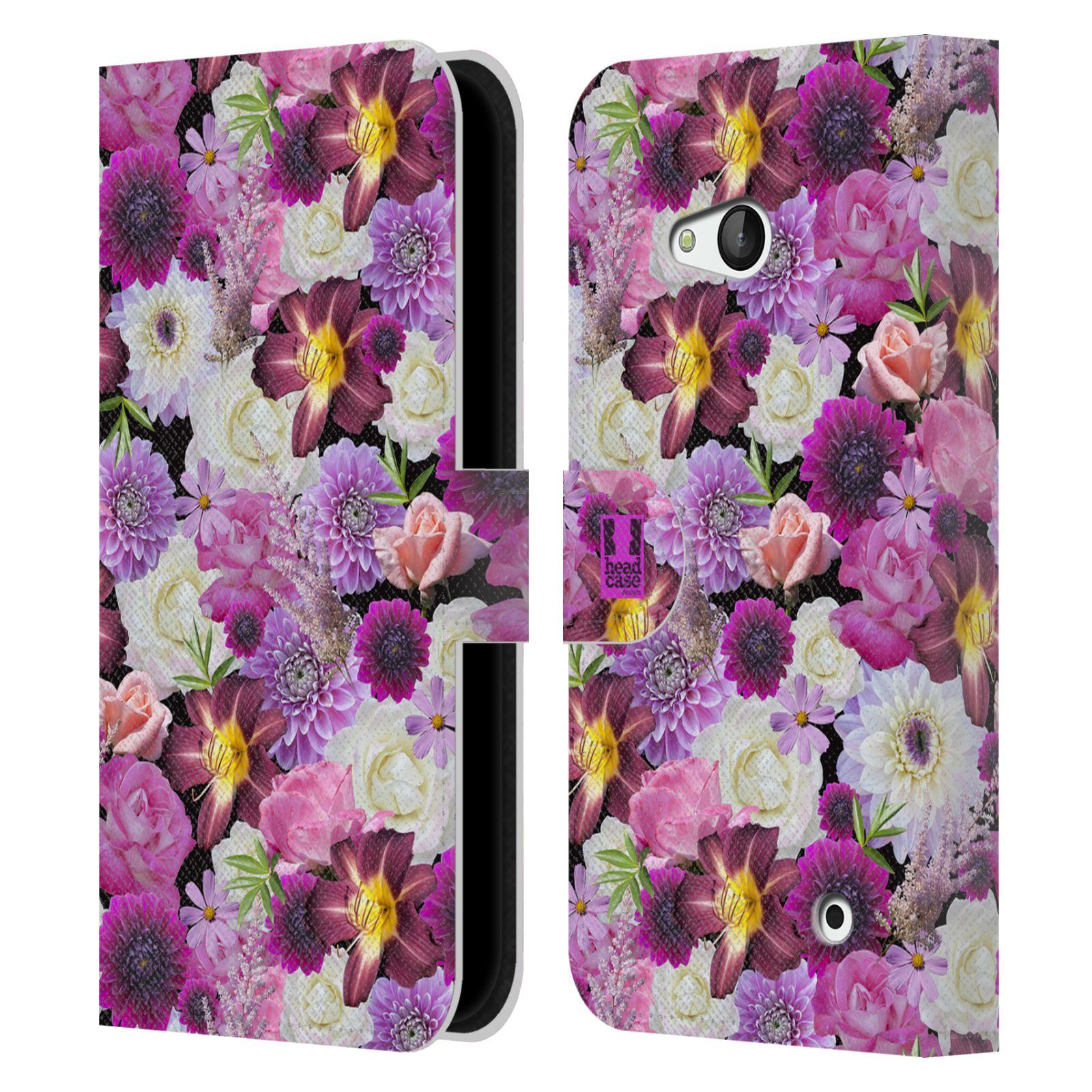 HEAD CASE Flipové pouzdro pro mobil NOKIA / MICROSOFT LUMIA 640 / LUMIA 640 DUAL květy foto fialová a bílá