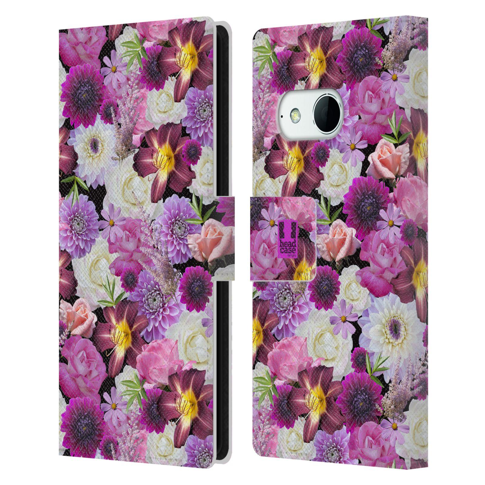 HEAD CASE Flipové pouzdro pro mobil HTC ONE MINI 2 (M8) květy foto fialová a bílá