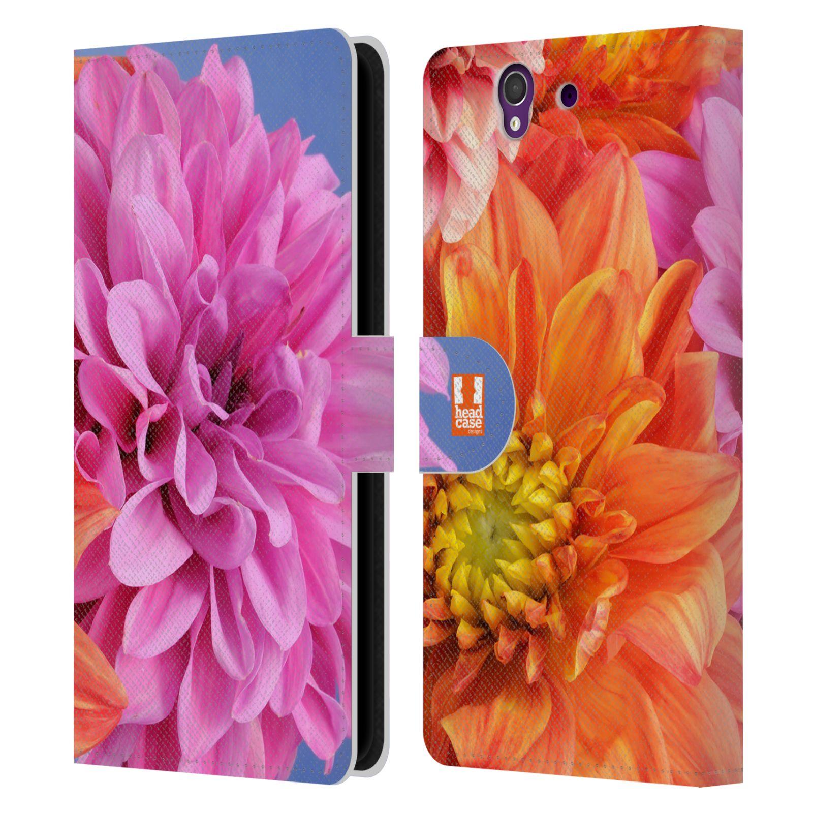 HEAD CASE Flipové pouzdro pro mobil SONY XPERIA Z (C6603) květy foto Jiřinka růžová a oranžová