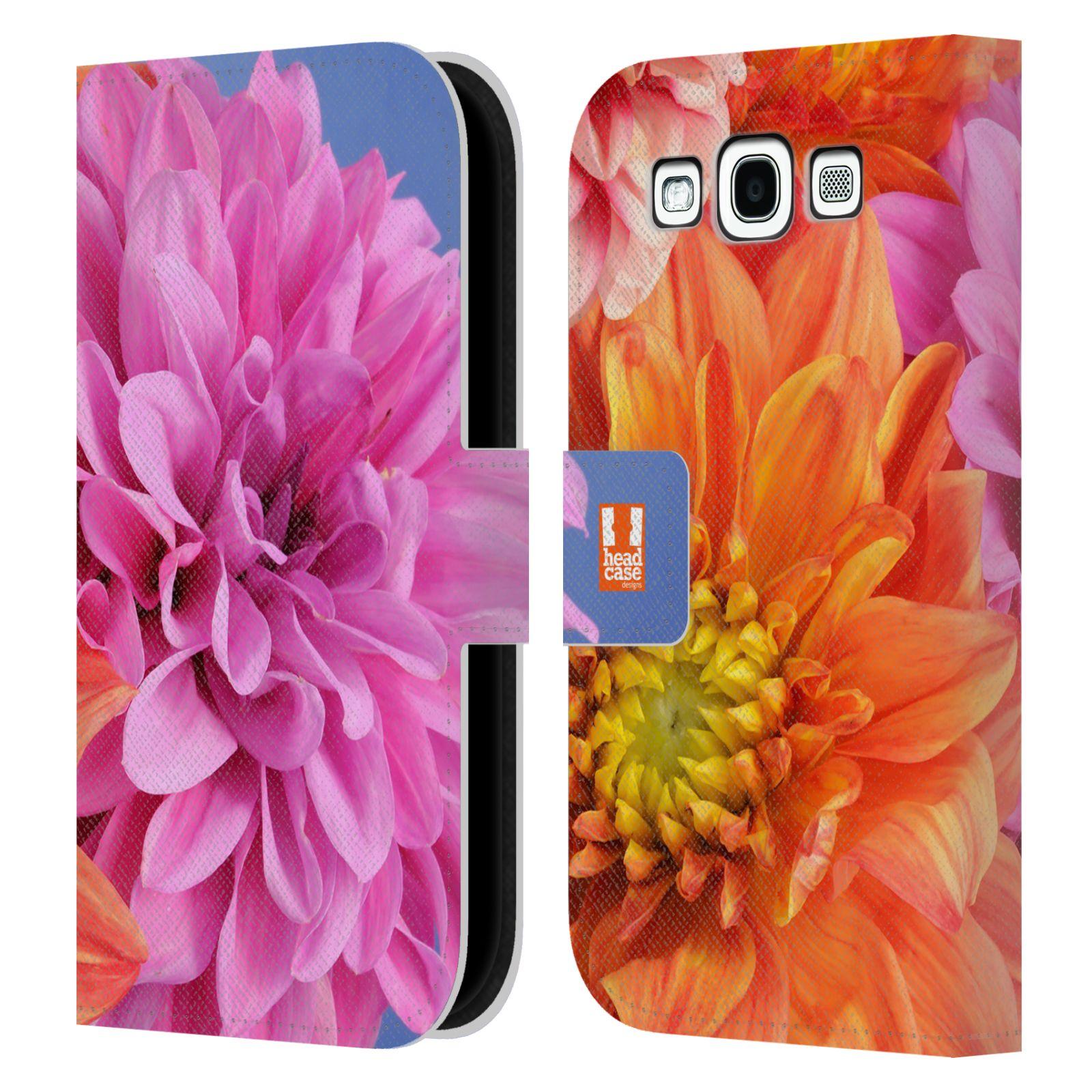 HEAD CASE Flipové pouzdro pro mobil Samsung Galaxy S3 květy foto Jiřinka růžová a oranžová