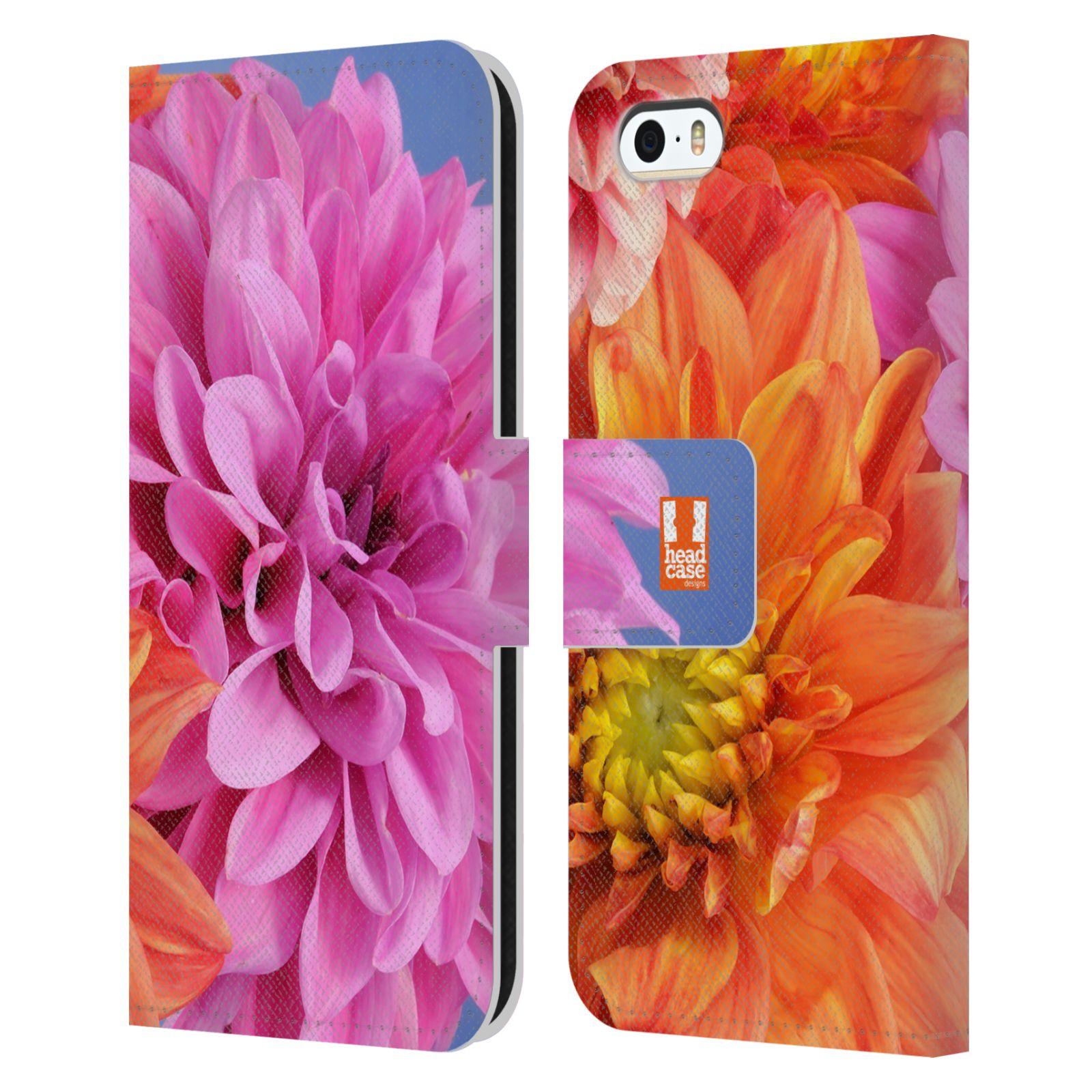 HEAD CASE Flipové pouzdro pro mobil Apple Iphone 5/5s květy foto Jiřinka růžová a oranžová