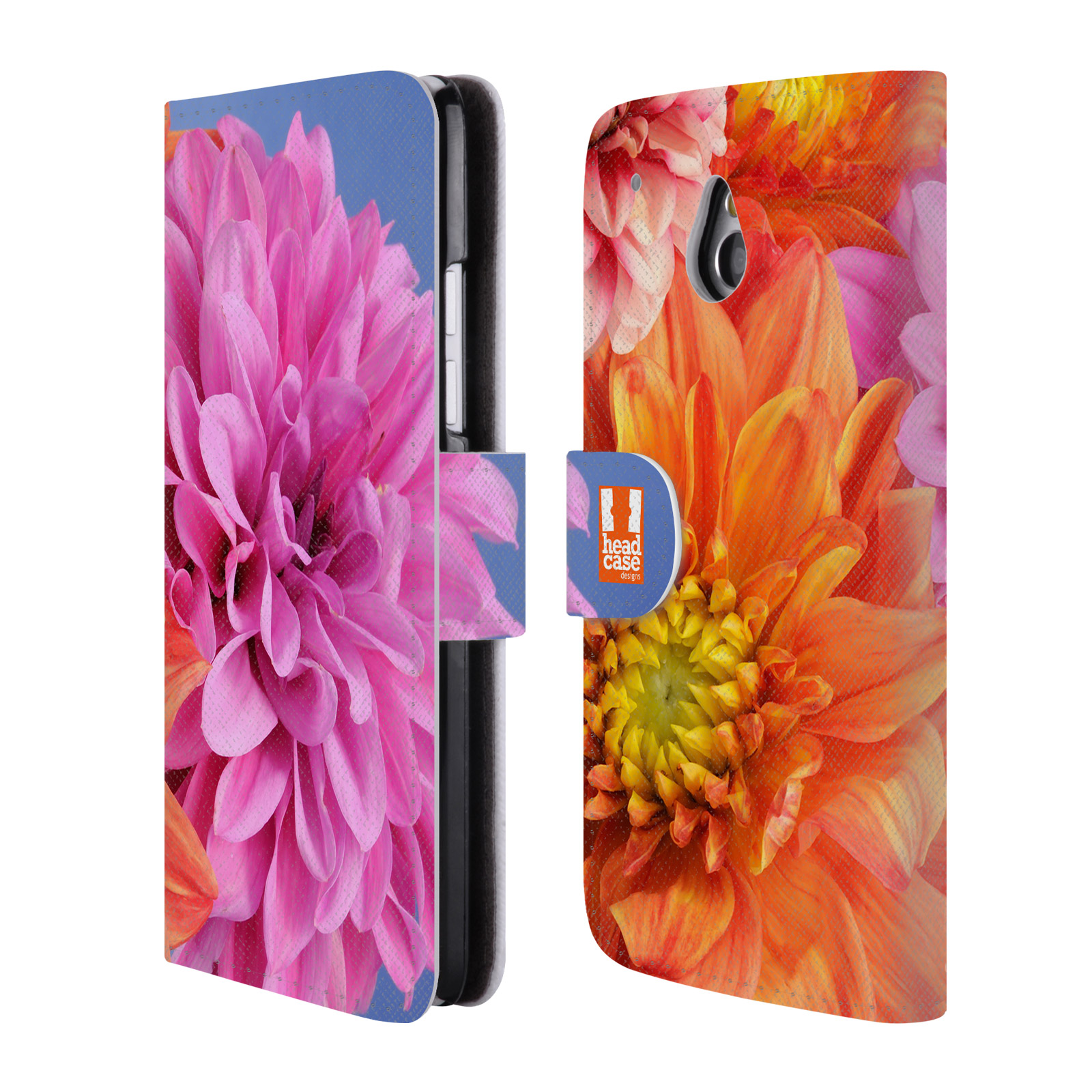 HEAD CASE Flipové pouzdro pro mobil HTC ONE MINI (M4) květy foto Jiřinka růžová a oranžová
